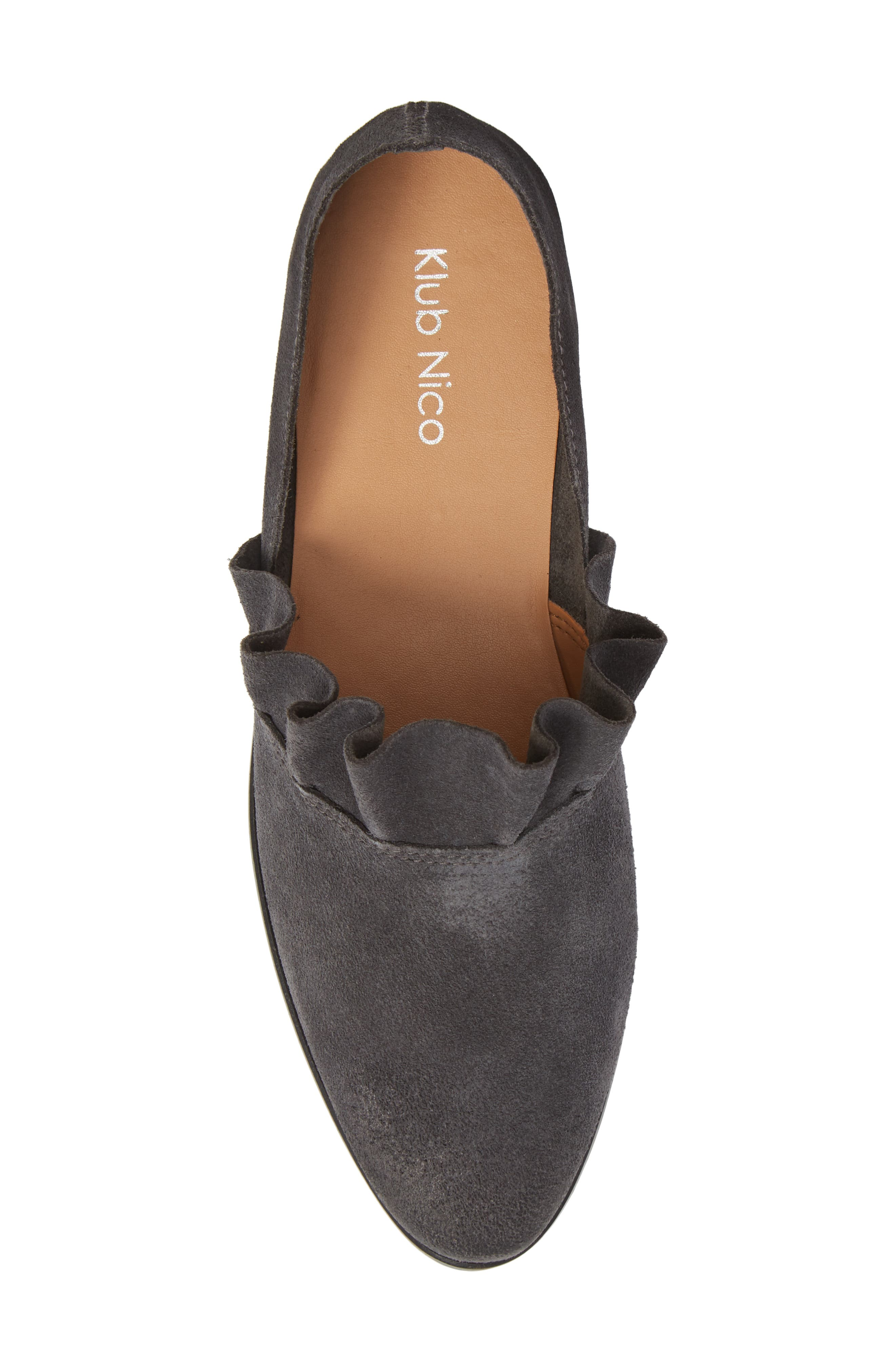 Gabbie Ruffle d'Orsay Flat,                             Alternate thumbnail 5, color,                             Ink Suede