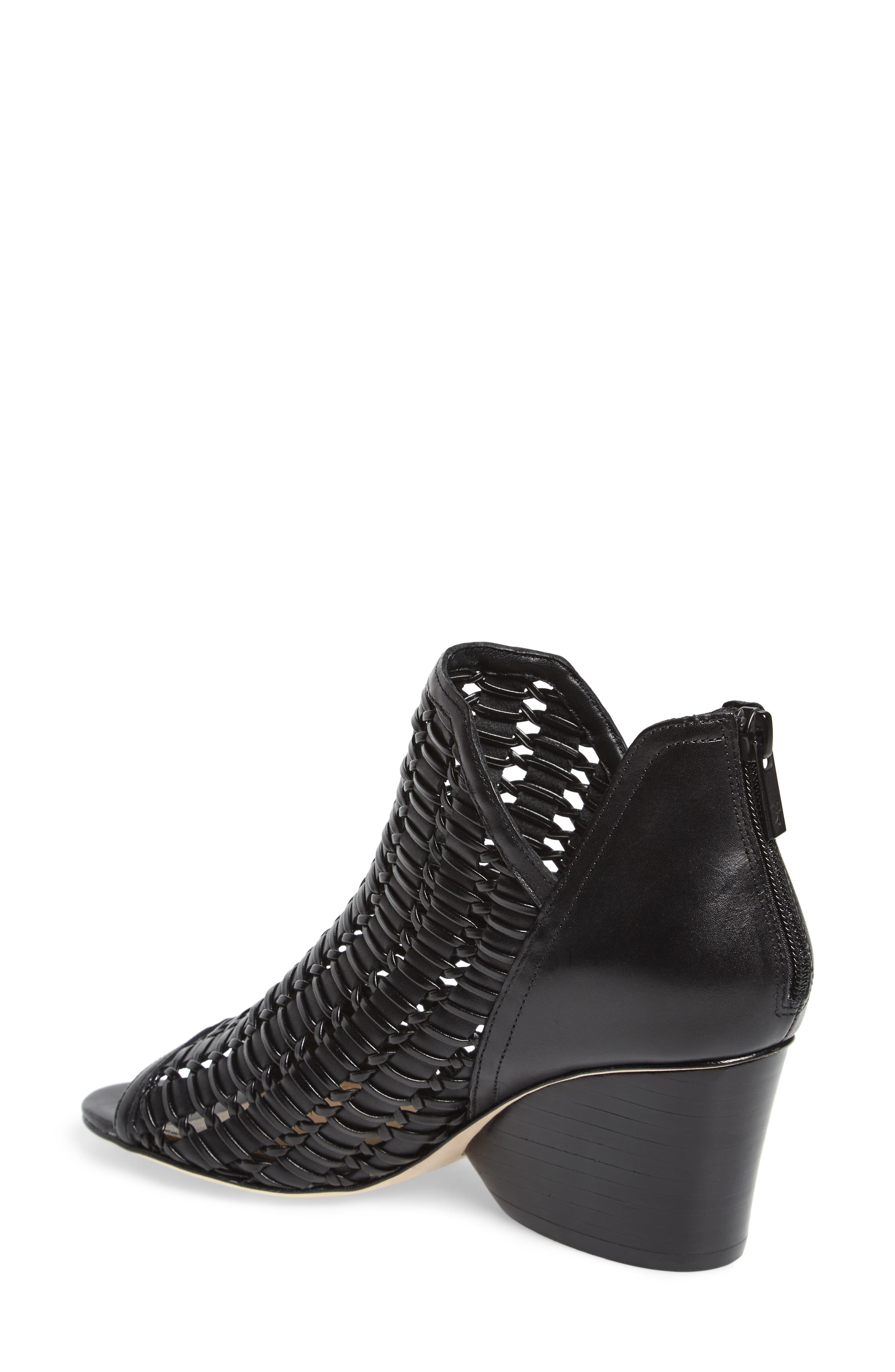 Jacqi Woven Open Toe Bootie,                             Alternate thumbnail 2, color,                             Black Leather
