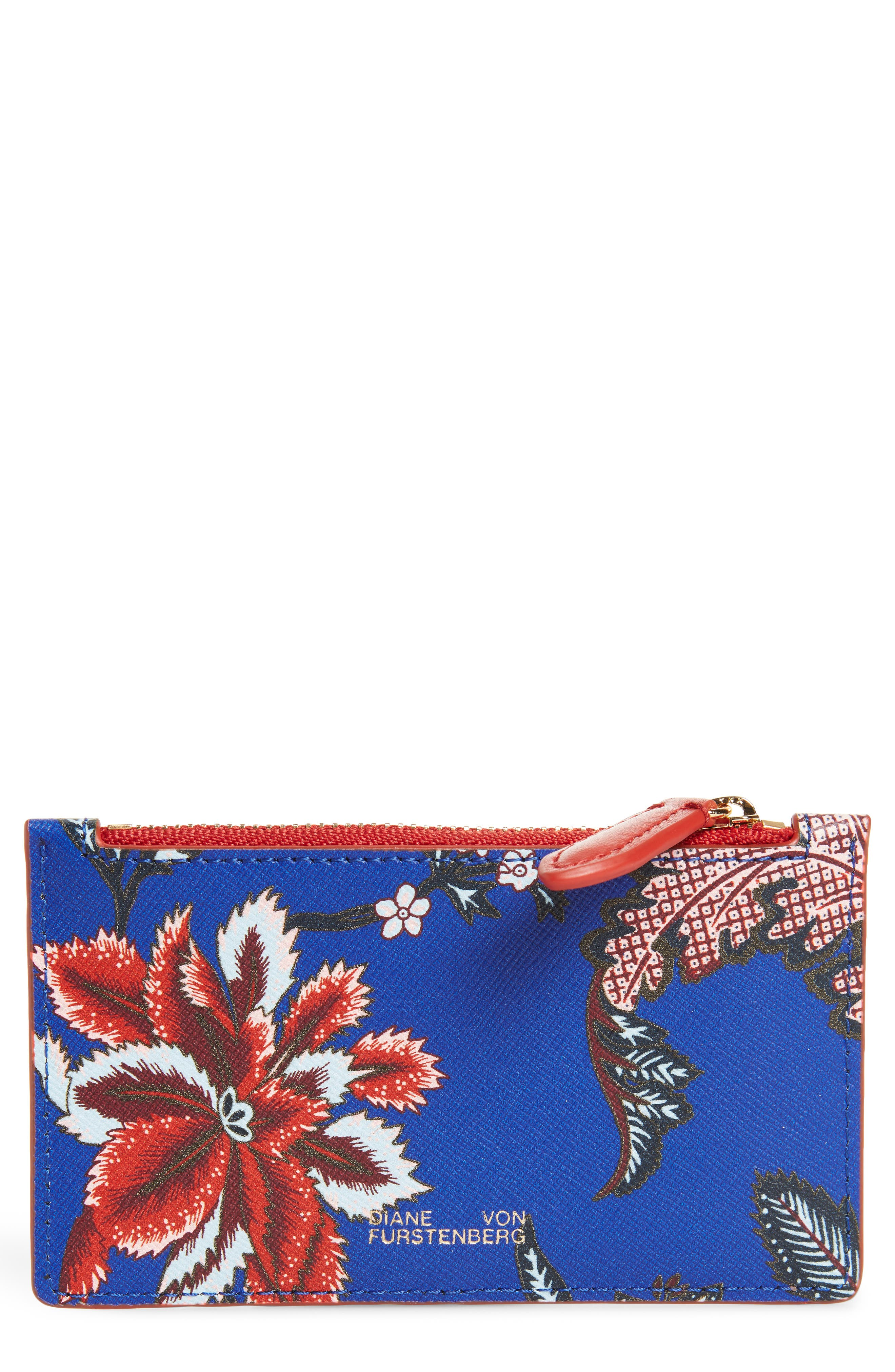 Leather Card Case,                             Main thumbnail 1, color,                             Blue