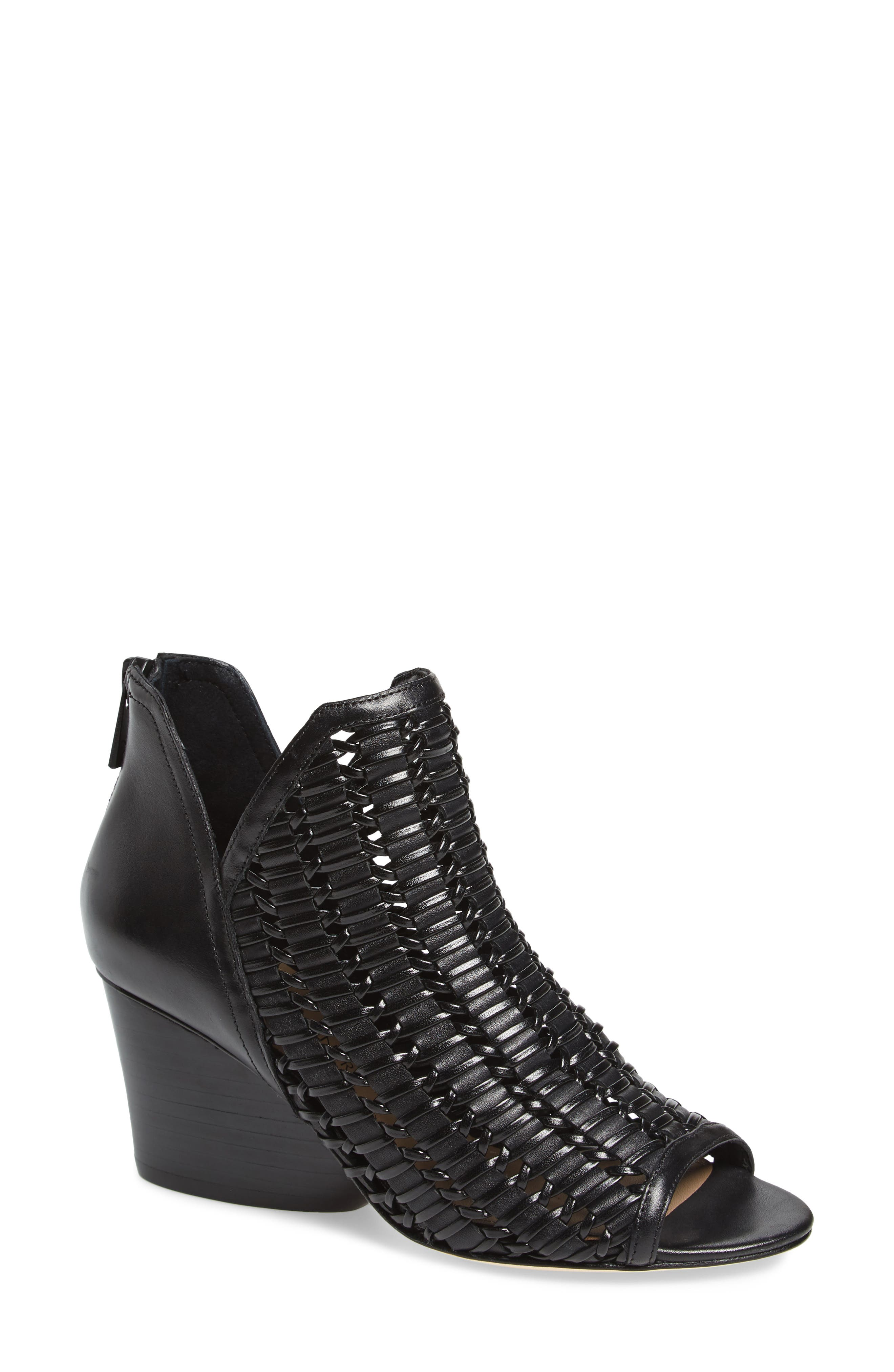 Jacqi Woven Open Toe Bootie,                             Main thumbnail 1, color,                             Black Leather