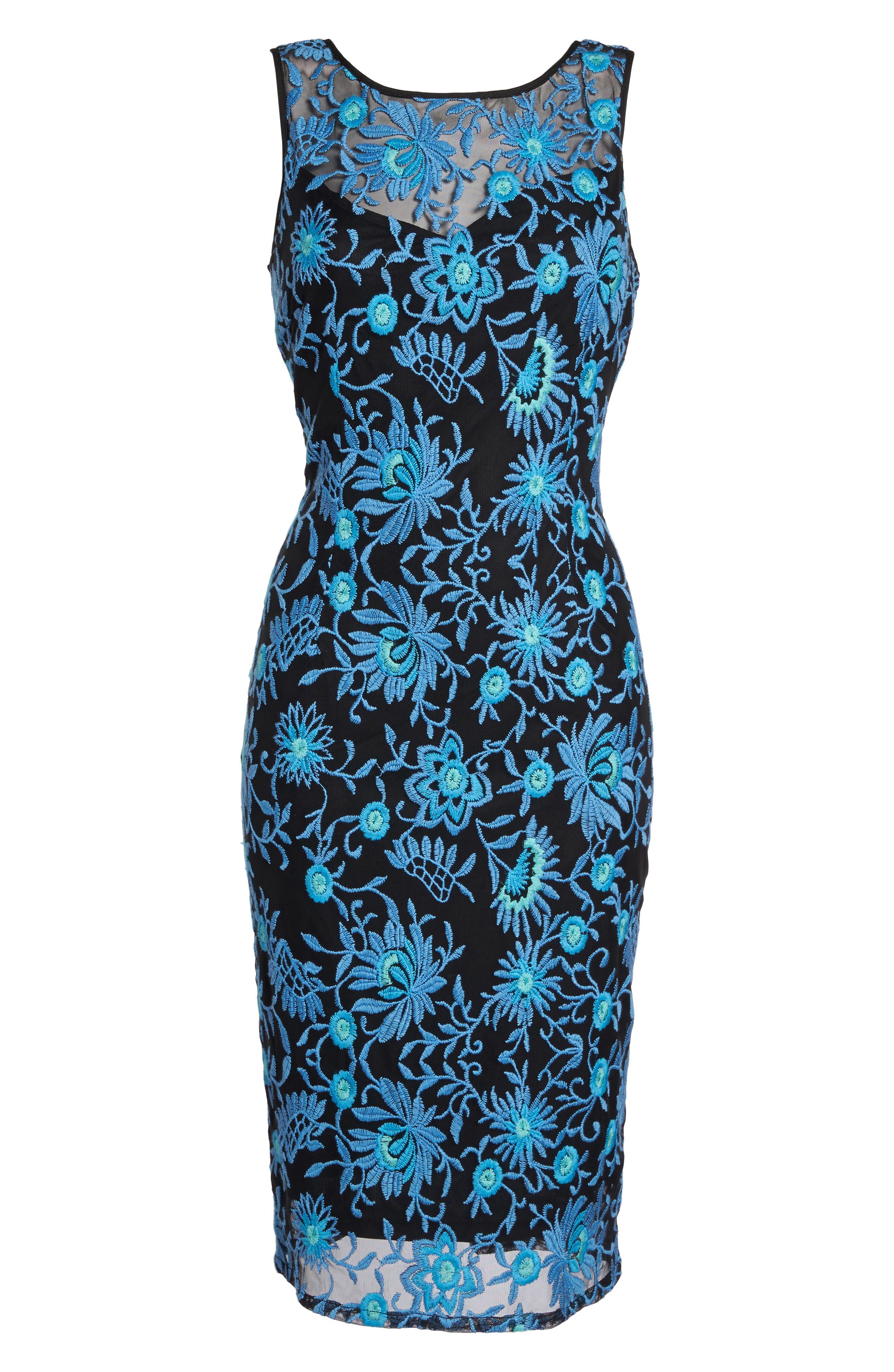 Embroidered Sheath Dress,                         Main,                         color, Nile Multi