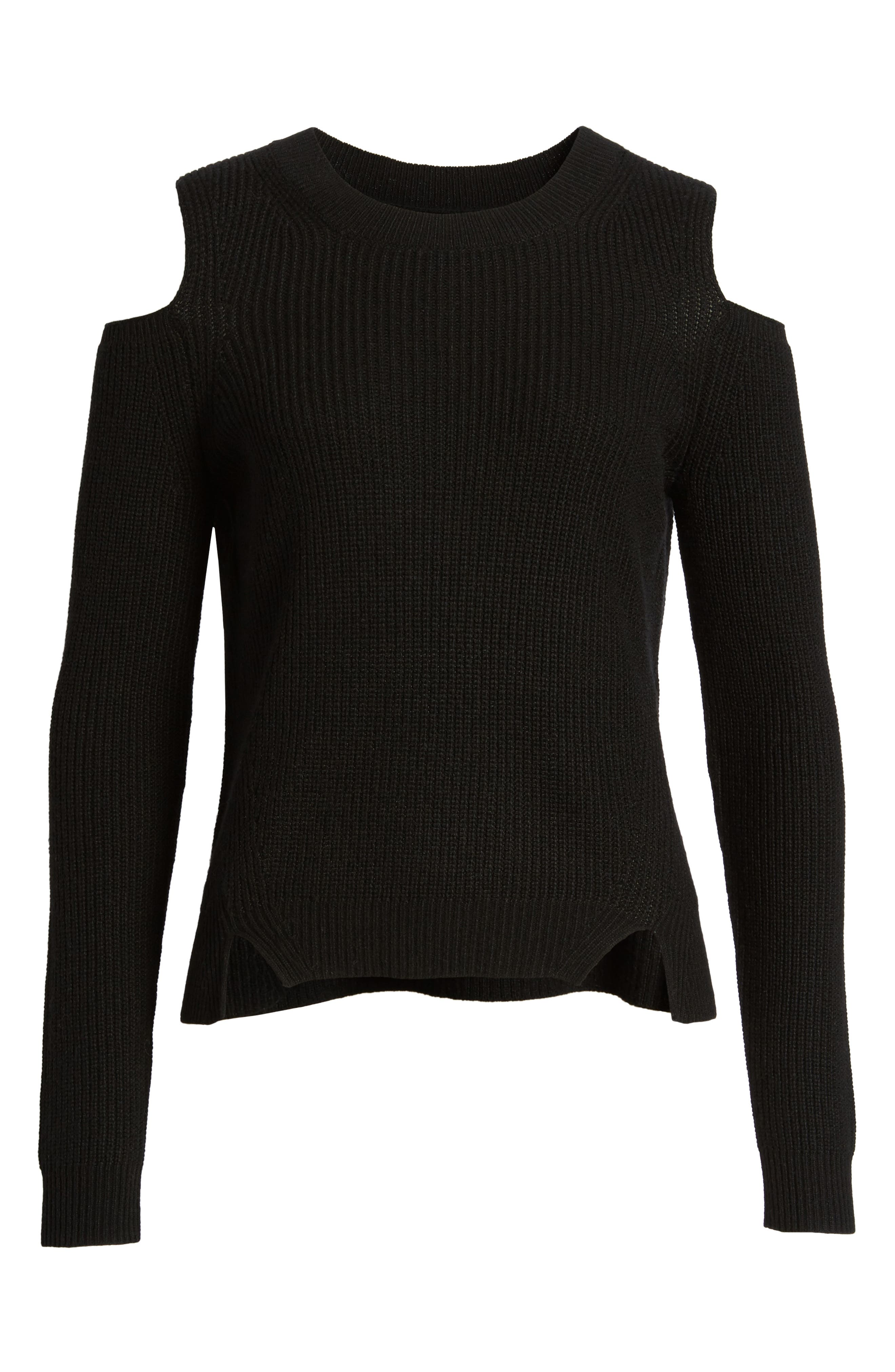 Cold Shoulder Pullover,                             Alternate thumbnail 6, color,                             Lucky Black