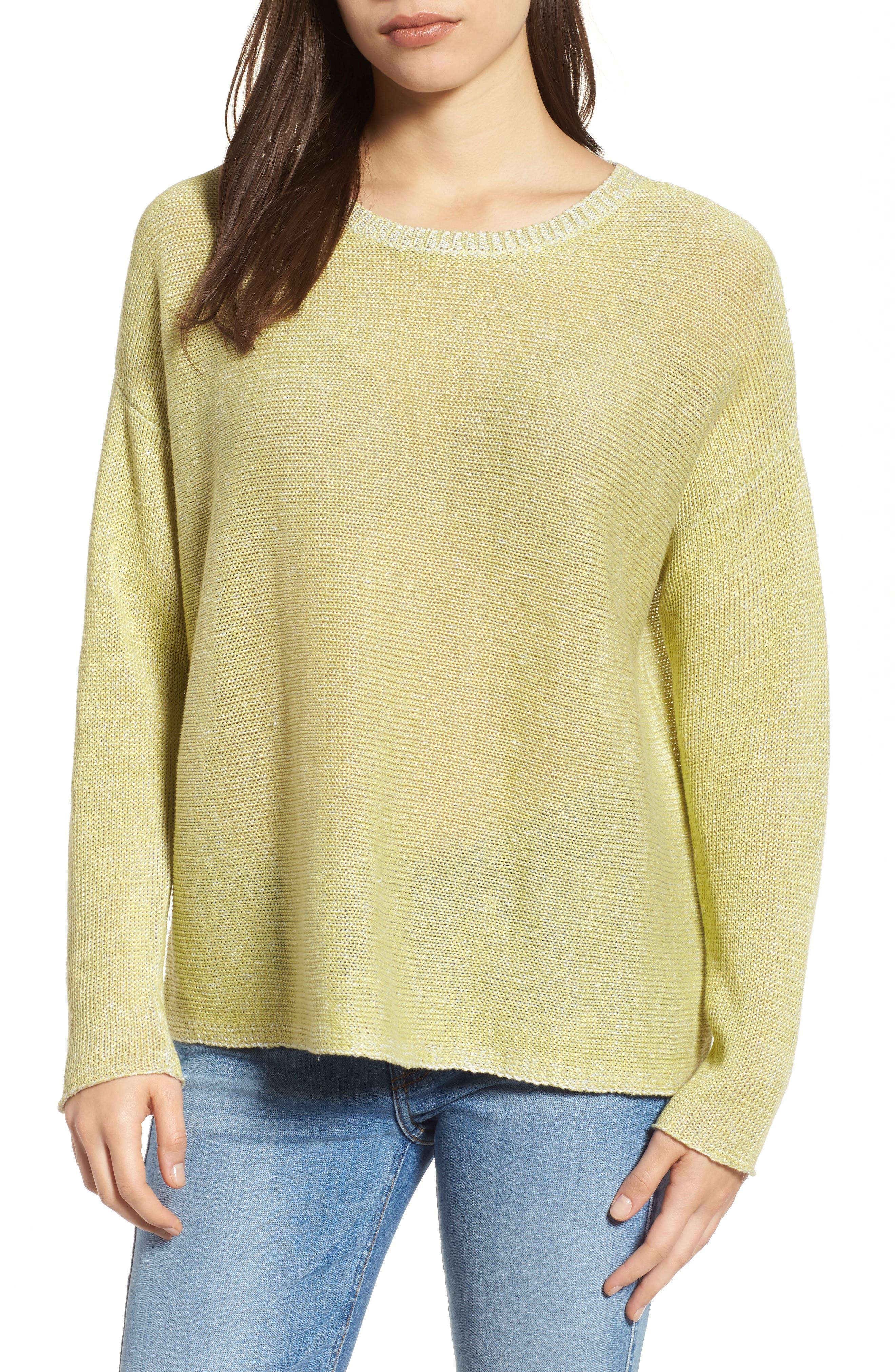 Boxy Organic Linen Sweater,                         Main,                         color, Verbena