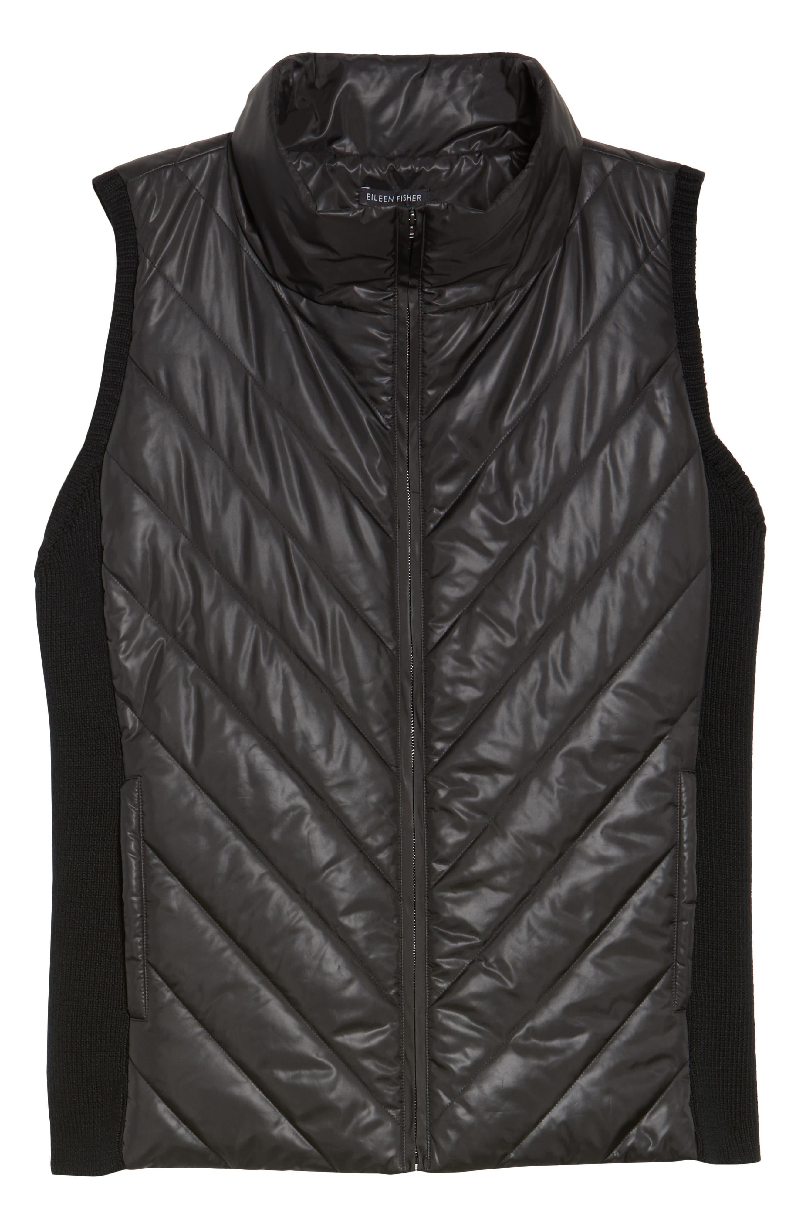 Merino Wool Trim Puffer Vest,                             Alternate thumbnail 6, color,                             Black