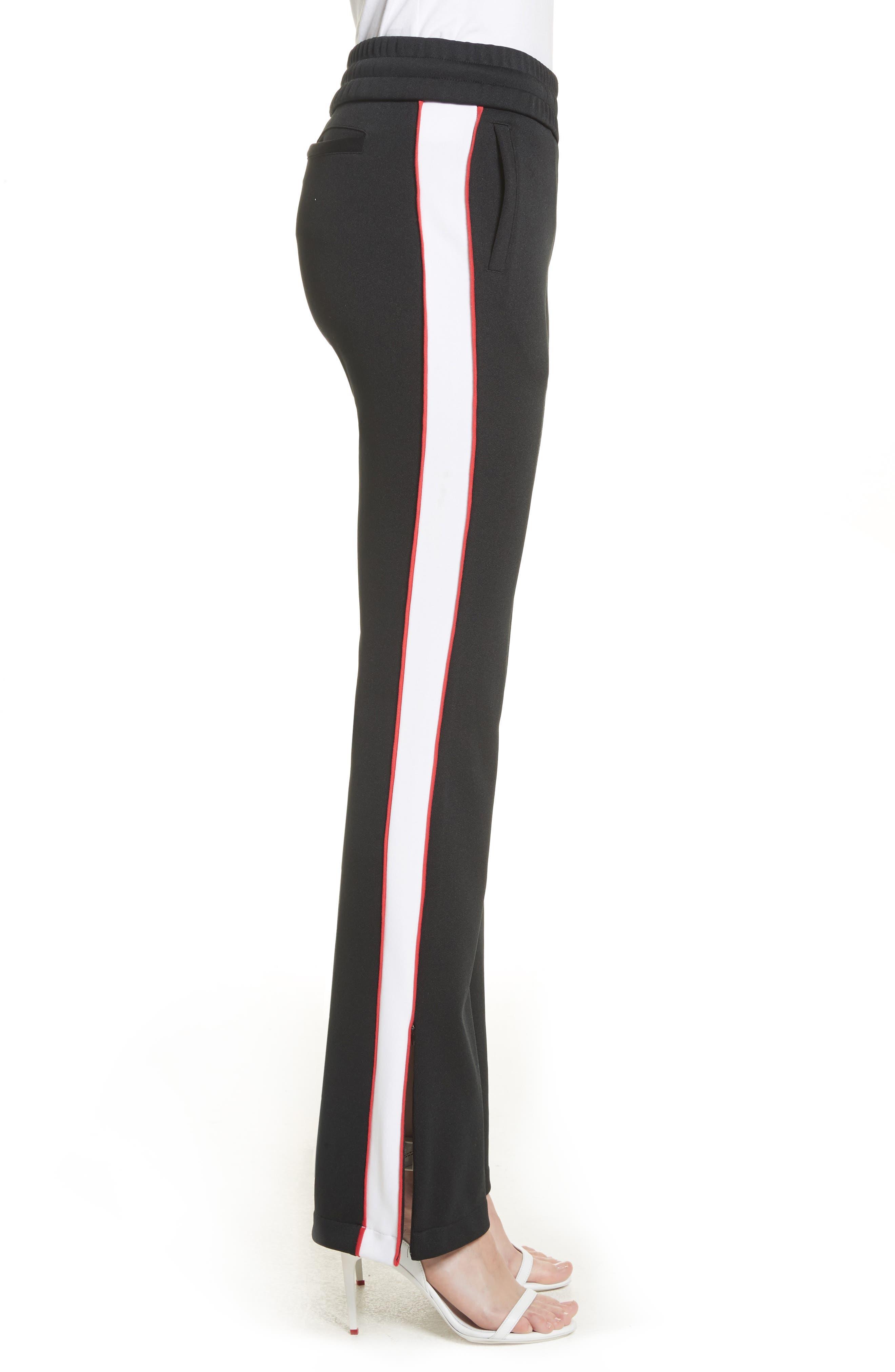 Flare Leg Track Pants,                             Alternate thumbnail 3, color,                             Black/ No Color