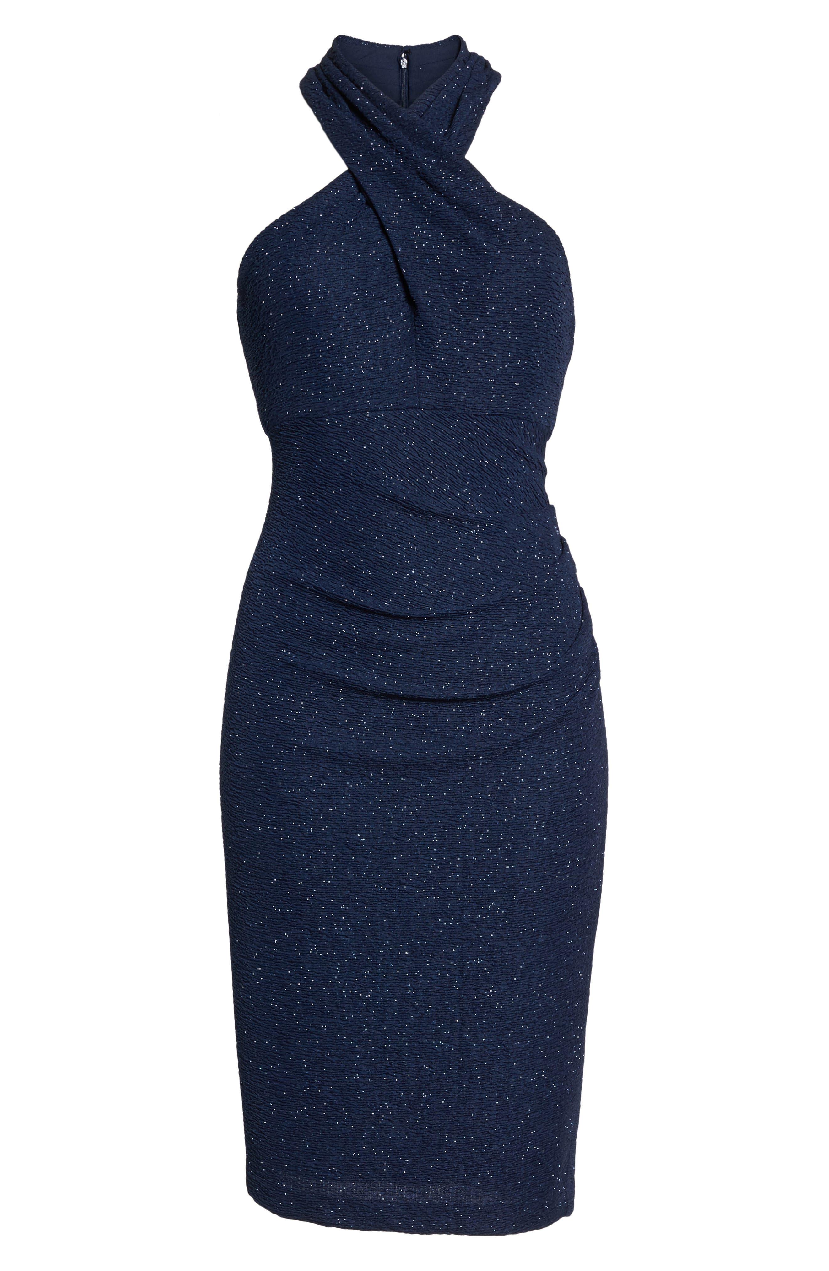 Glitter Halter Neck Sheath Dress,                             Alternate thumbnail 6, color,                             Navy
