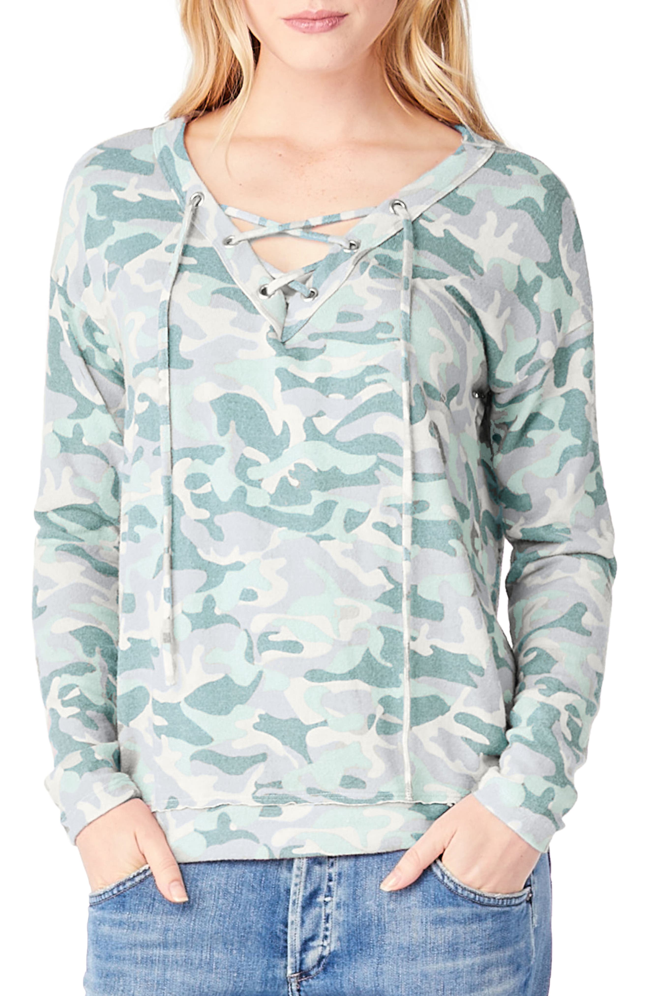 Lace-Up Camo Print Top,                             Main thumbnail 1, color,                             Tinsel