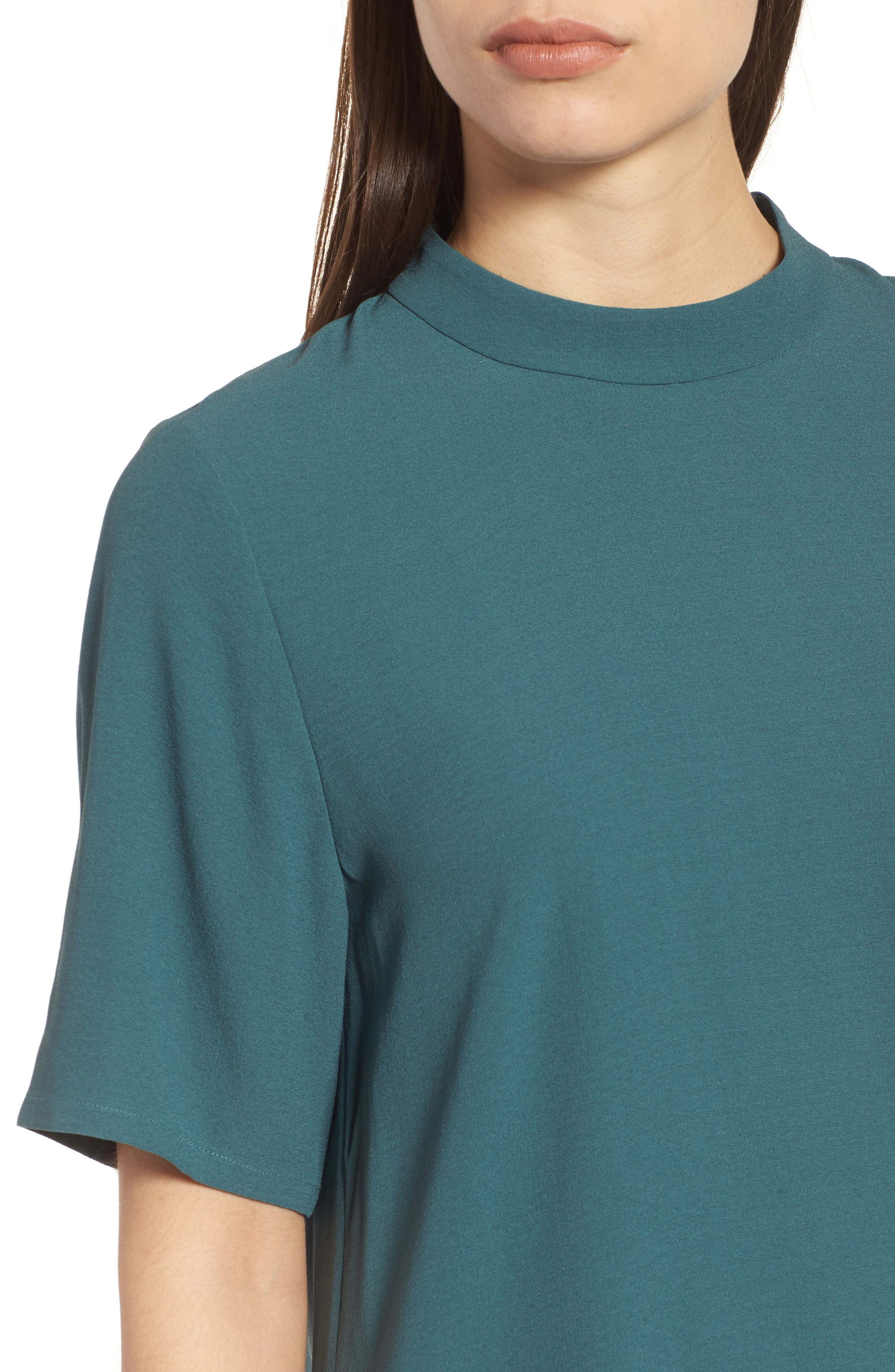 High Neck Silk Tunic,                             Alternate thumbnail 4, color,                             Dragonfly