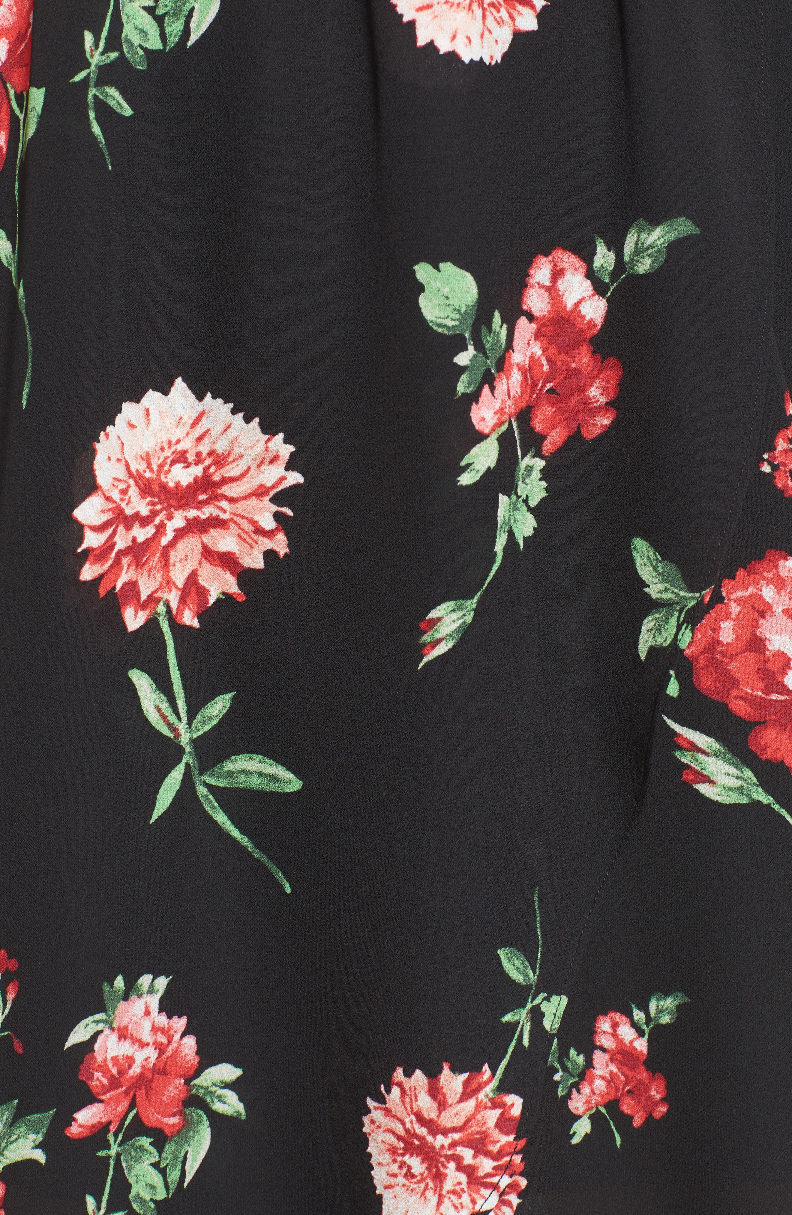 Ruffle Cold Shoulder Faux Wrap Dress,                             Alternate thumbnail 5, color,                             750 Black Red
