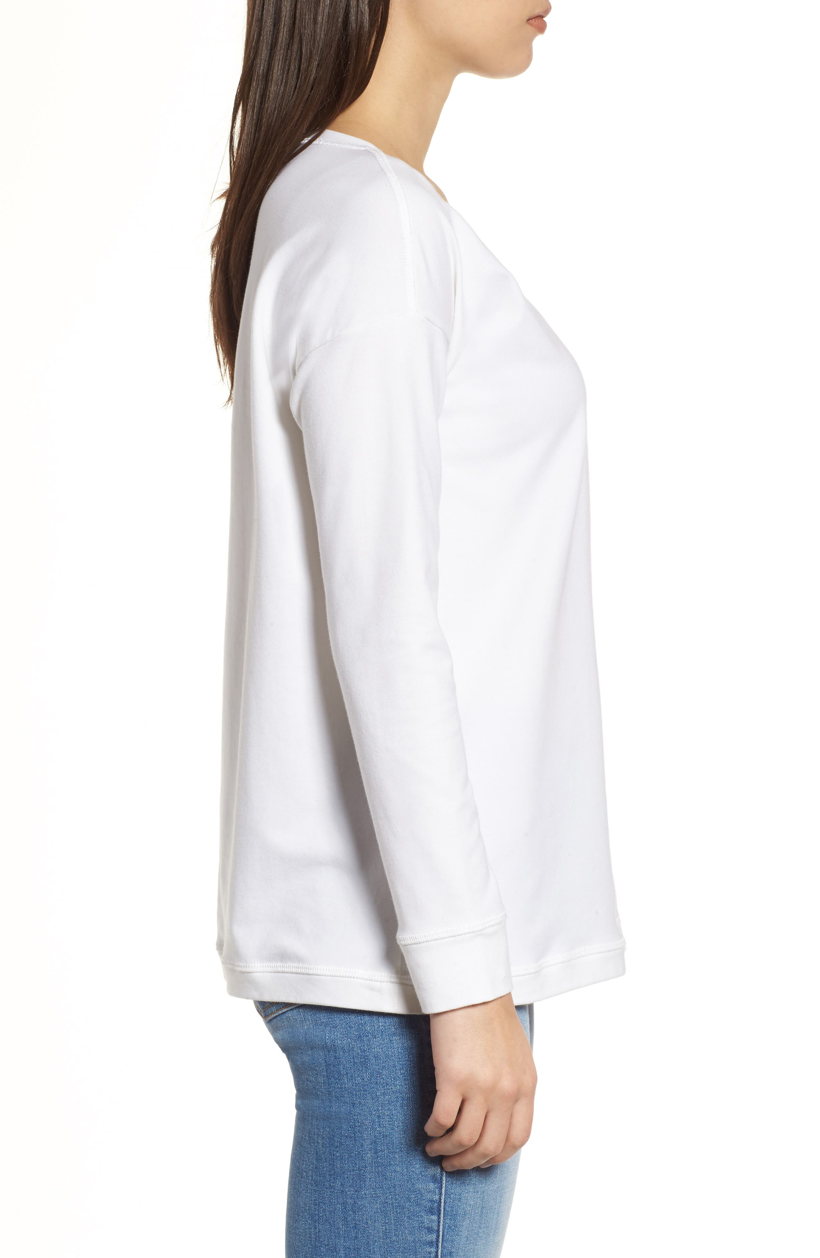 Jewel Neck Organic Stretch Cotton Tee,                             Alternate thumbnail 3, color,                             White
