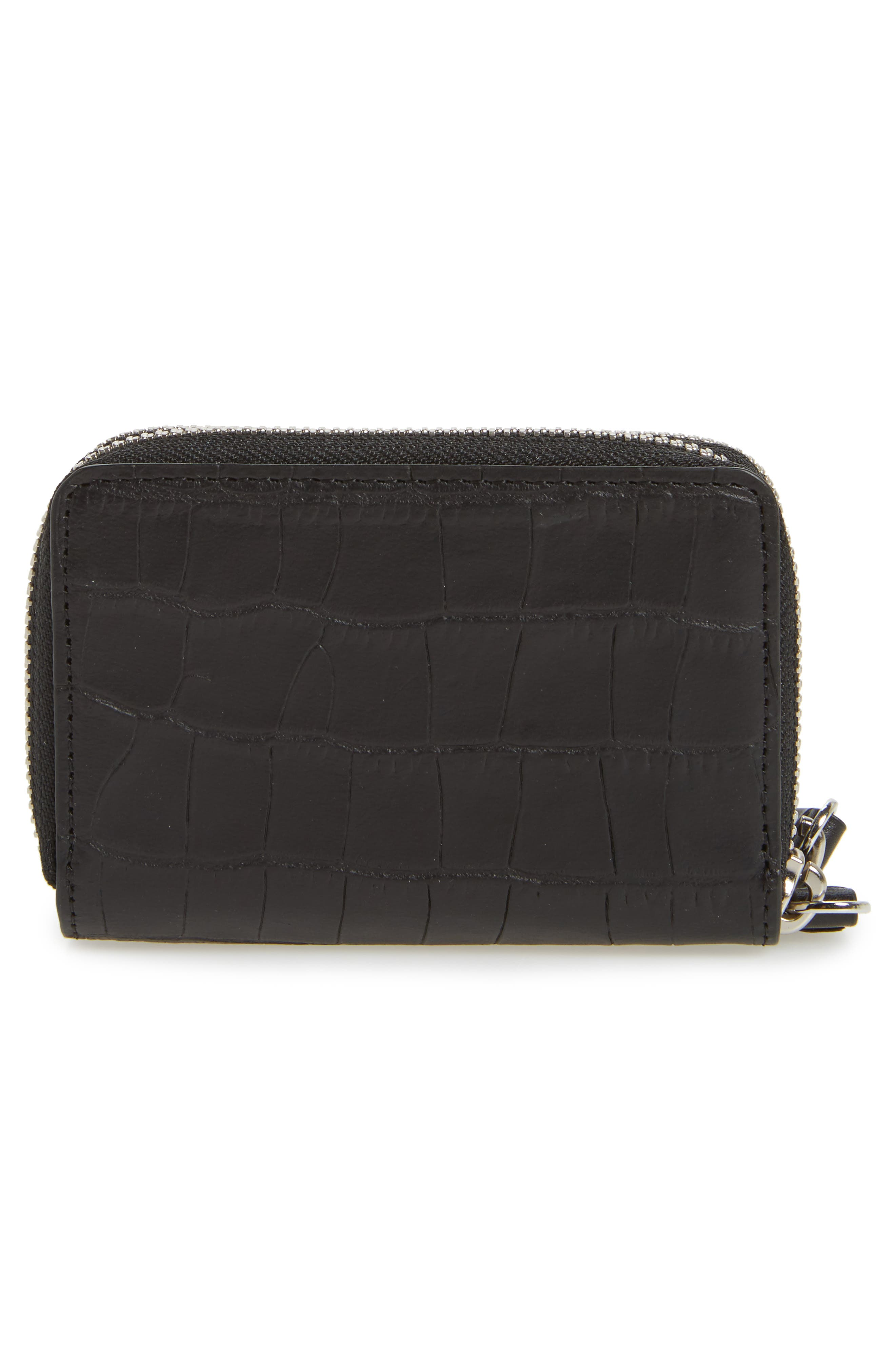 Fetch Leather Card Holder,                             Alternate thumbnail 4, color,                             Black