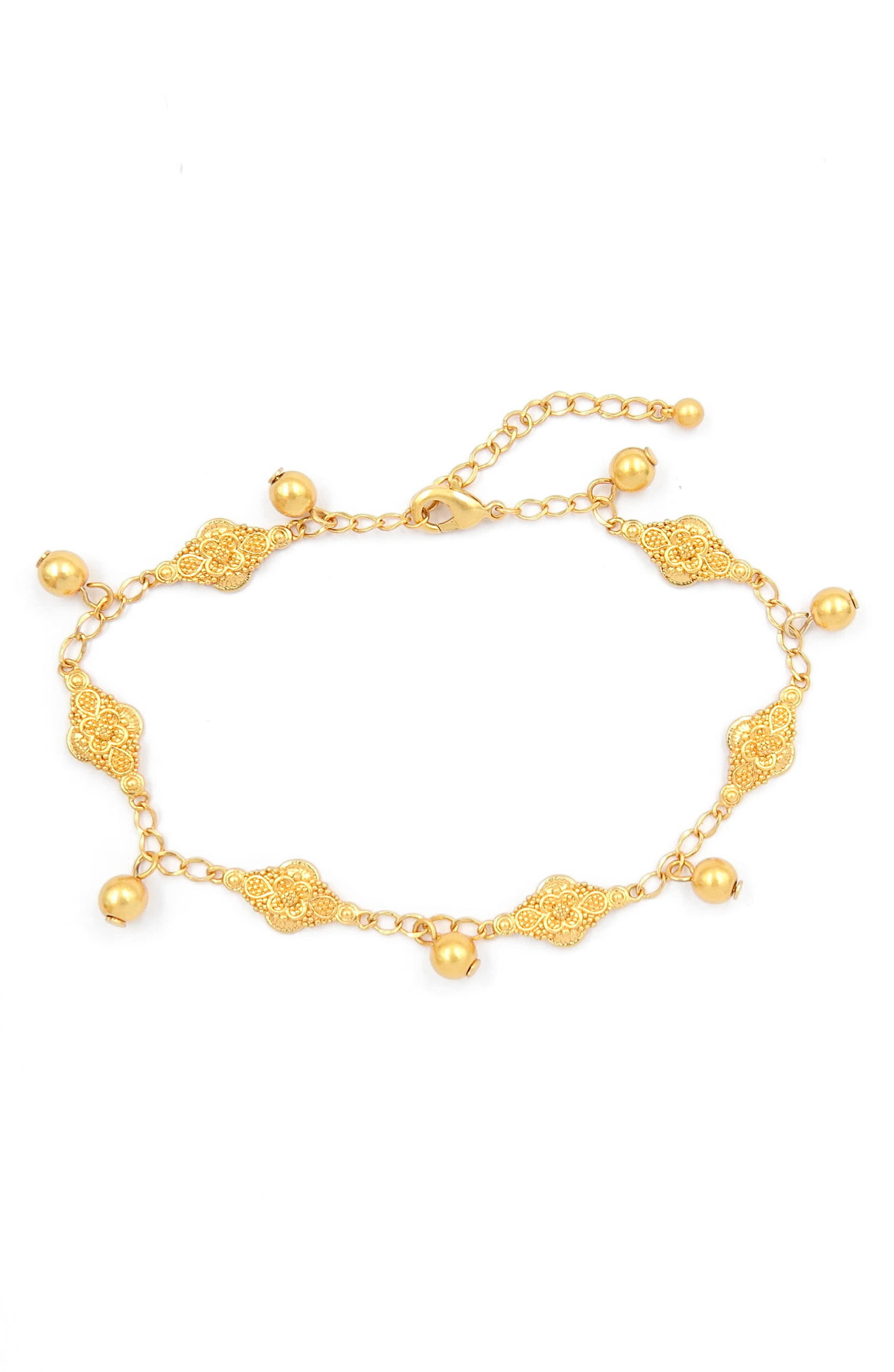 Station Chain Anklet,                         Main,                         color, Gold