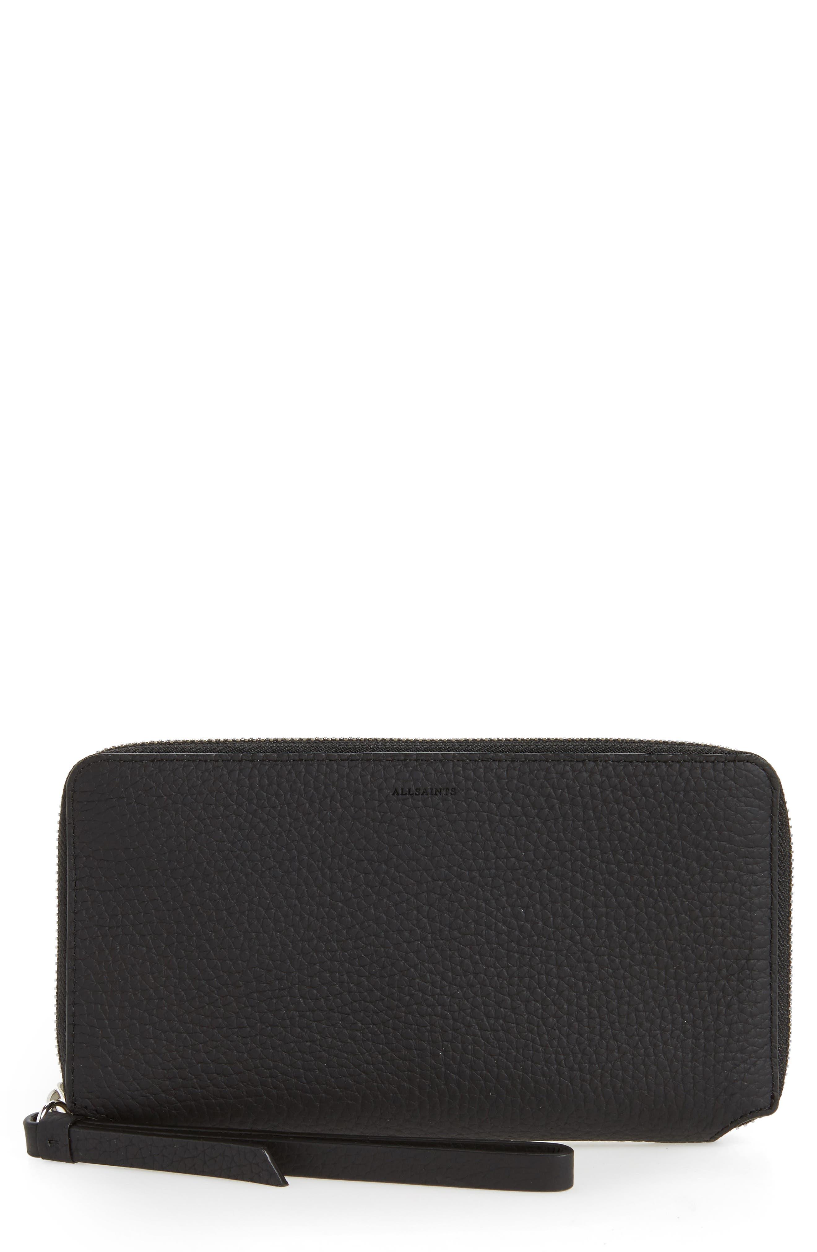 Fetch Leather Phone Wristlet,                             Main thumbnail 1, color,                             Black