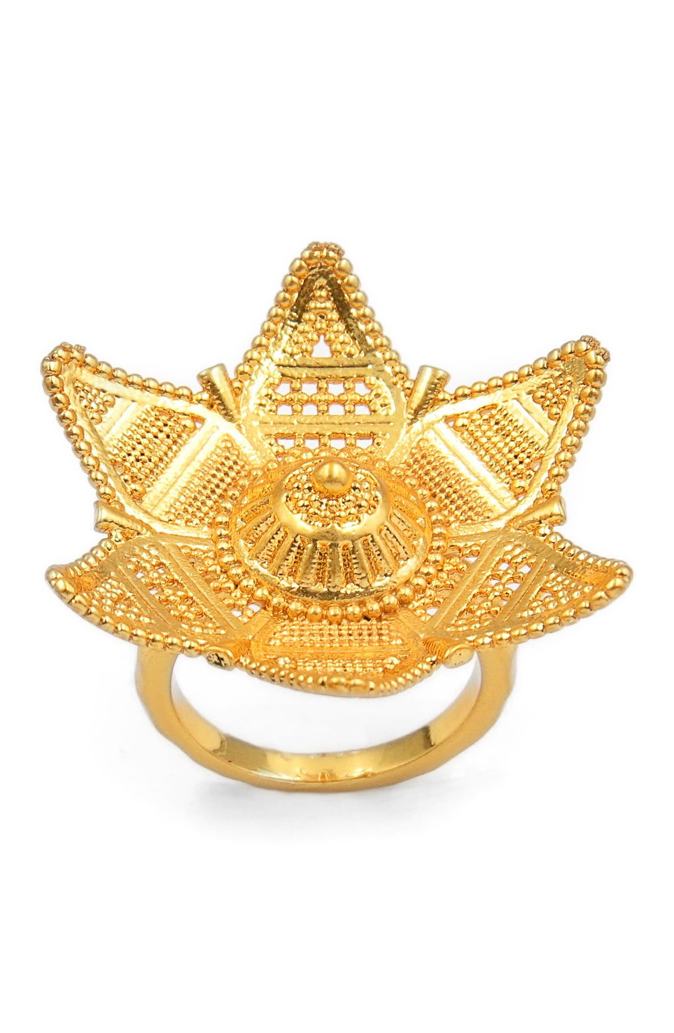 Six-Point Filigree Star Ring,                             Alternate thumbnail 3, color,                             Gold