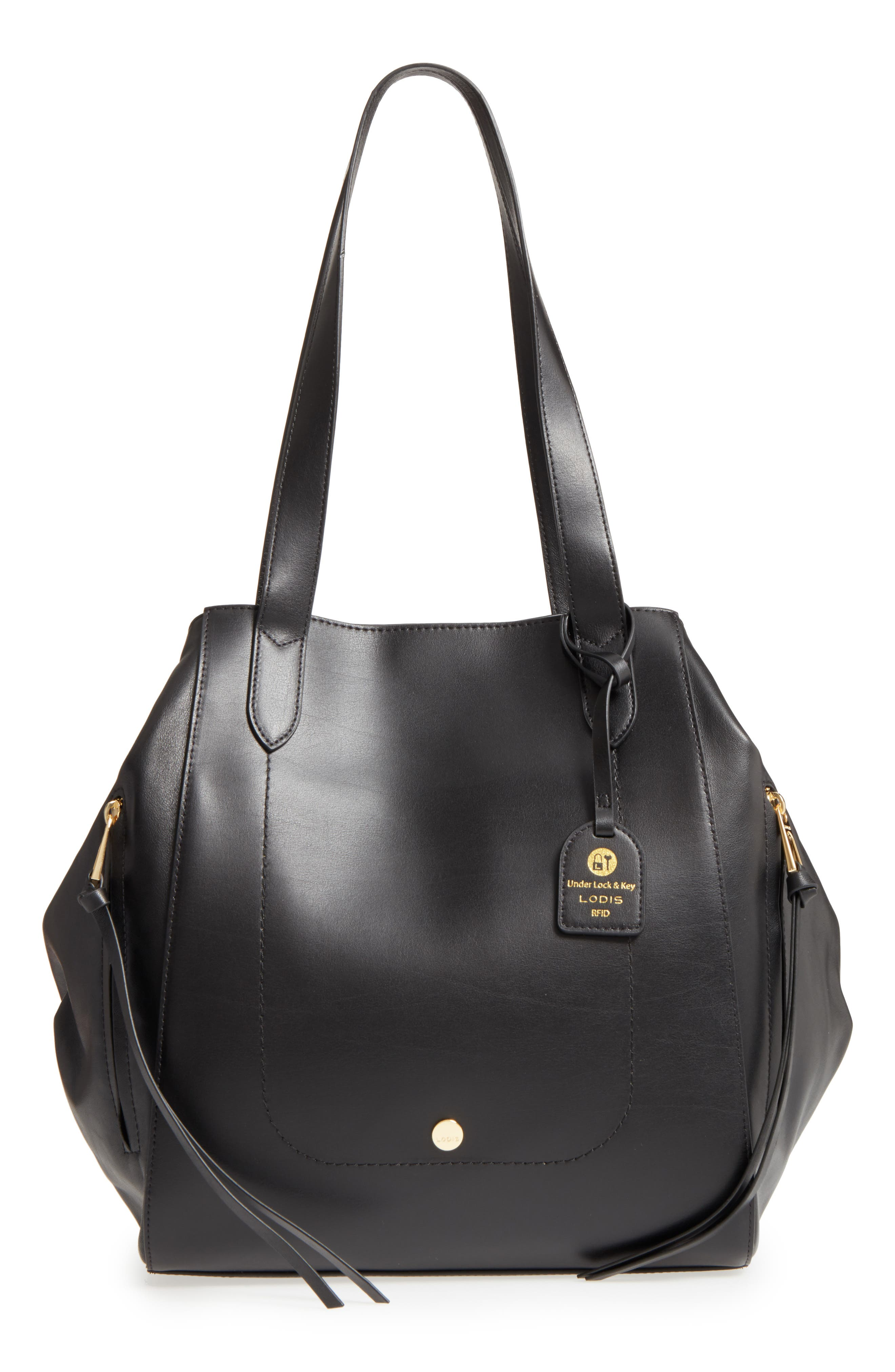 Downtown Charlize RFID Leather Tote,                             Main thumbnail 1, color,                             Black