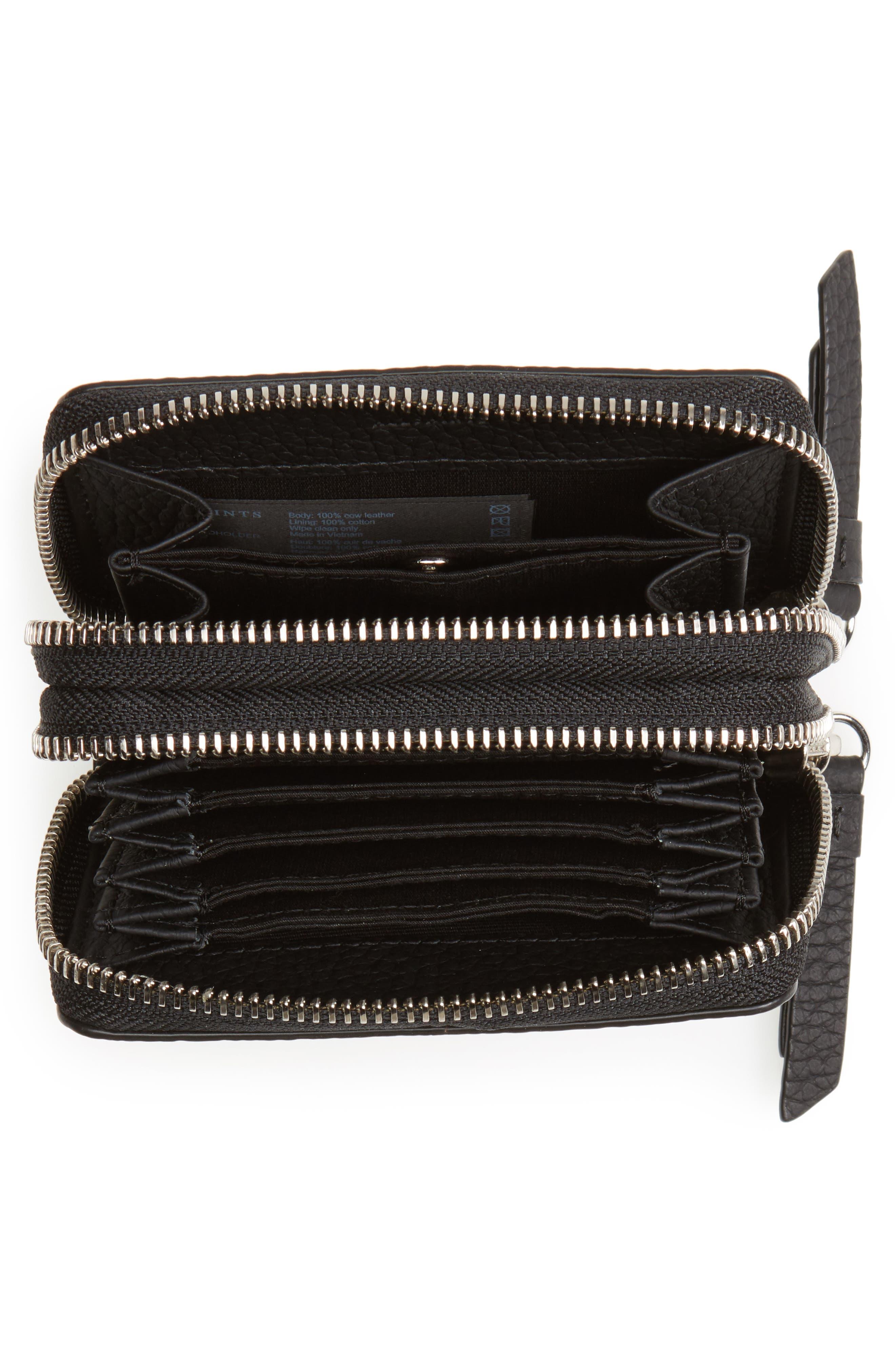 Fetch Leather Card Holder,                             Alternate thumbnail 2, color,                             Black