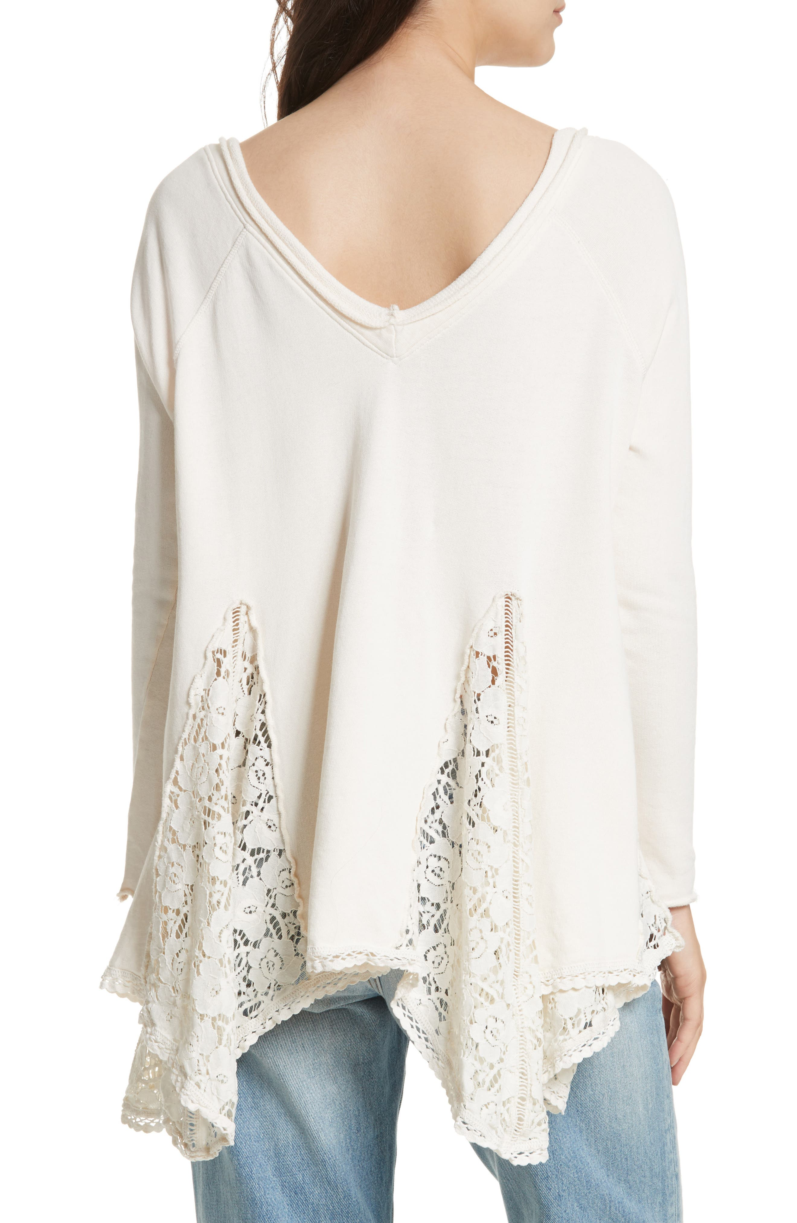 Alternate Image 2  - Free People No Frills Lace Inset Asymmetrical Top