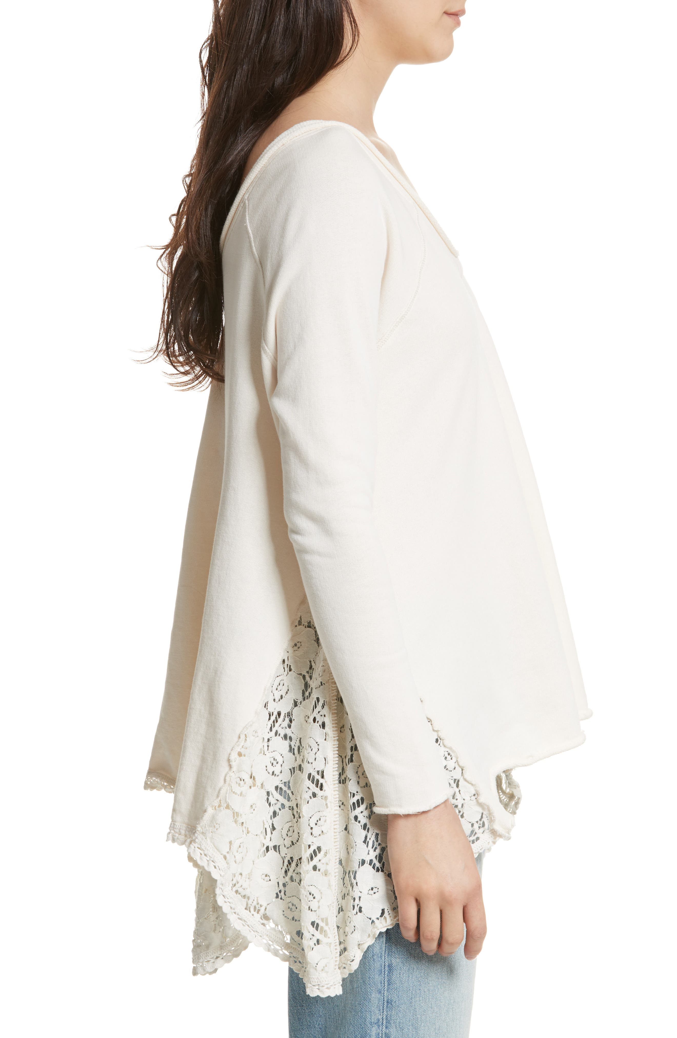 Alternate Image 3  - Free People No Frills Lace Inset Asymmetrical Top