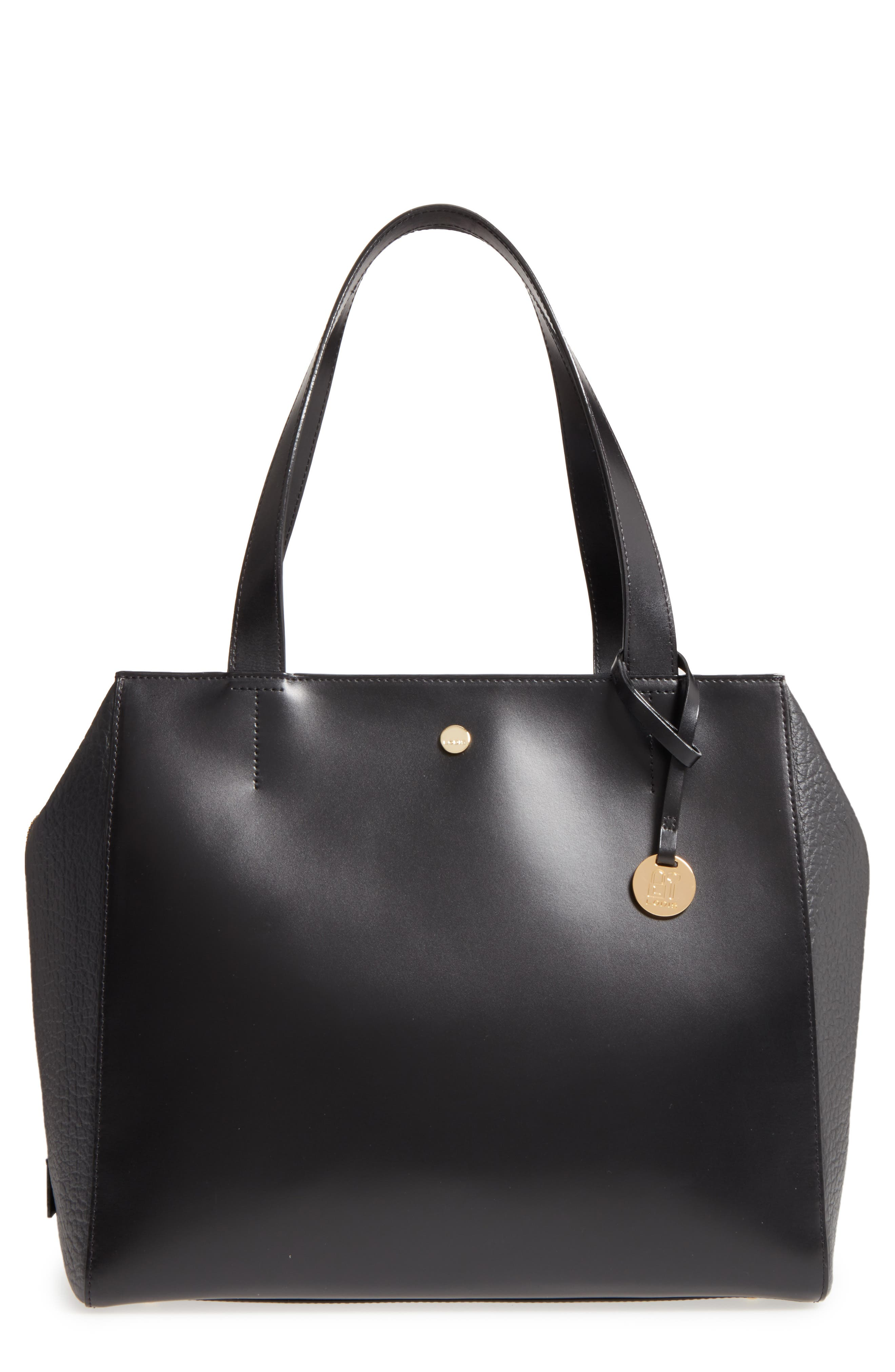 In the Mix Doris RFID Leather Work Tote,                         Main,                         color, Jet