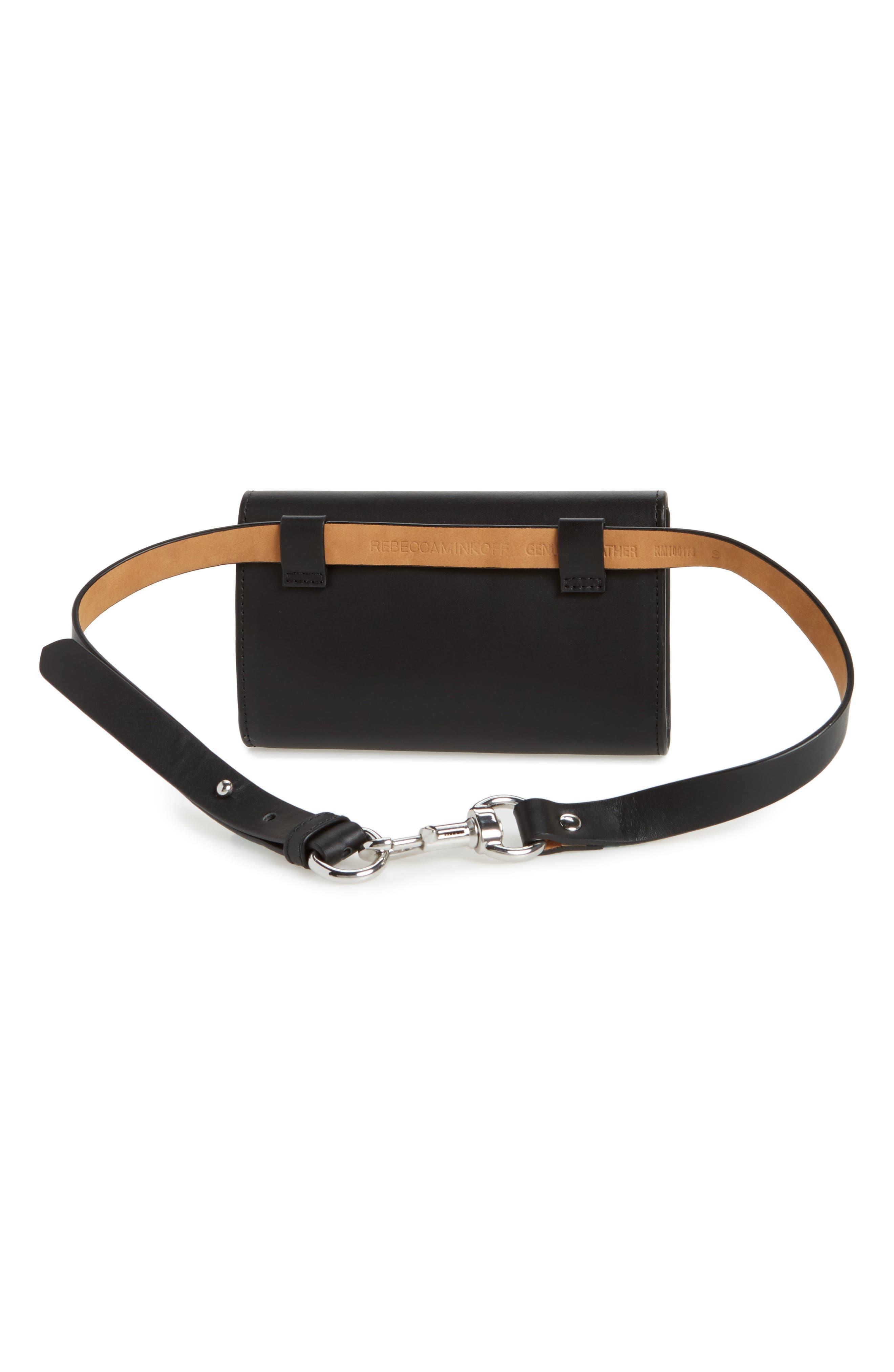 Erin Studded Calfskin Leather Belt Bag,                             Alternate thumbnail 3, color,                             Black