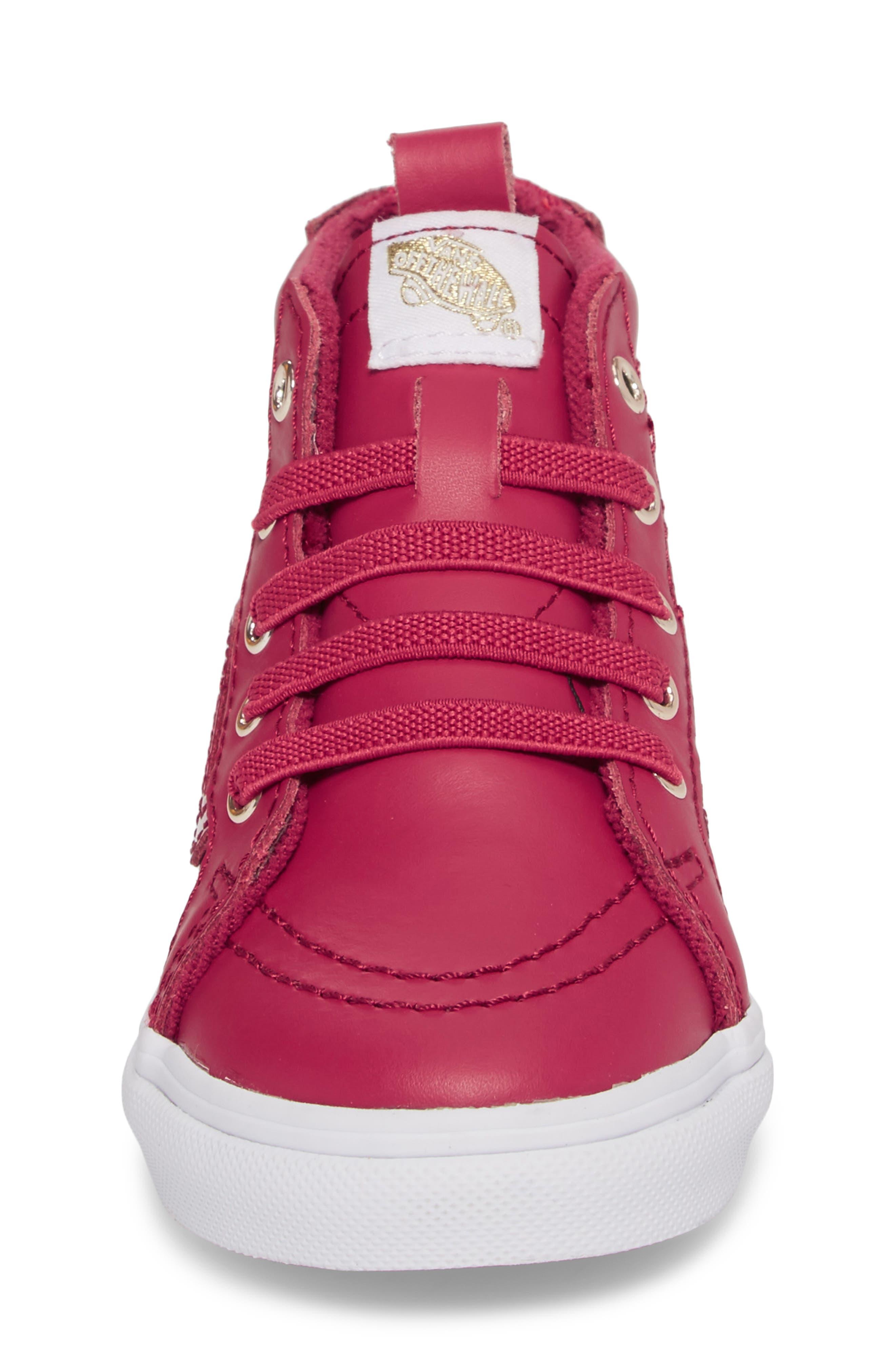 SK8-Hi Zip Sneaker,                             Alternate thumbnail 4, color,                             Persian Red/ Gold