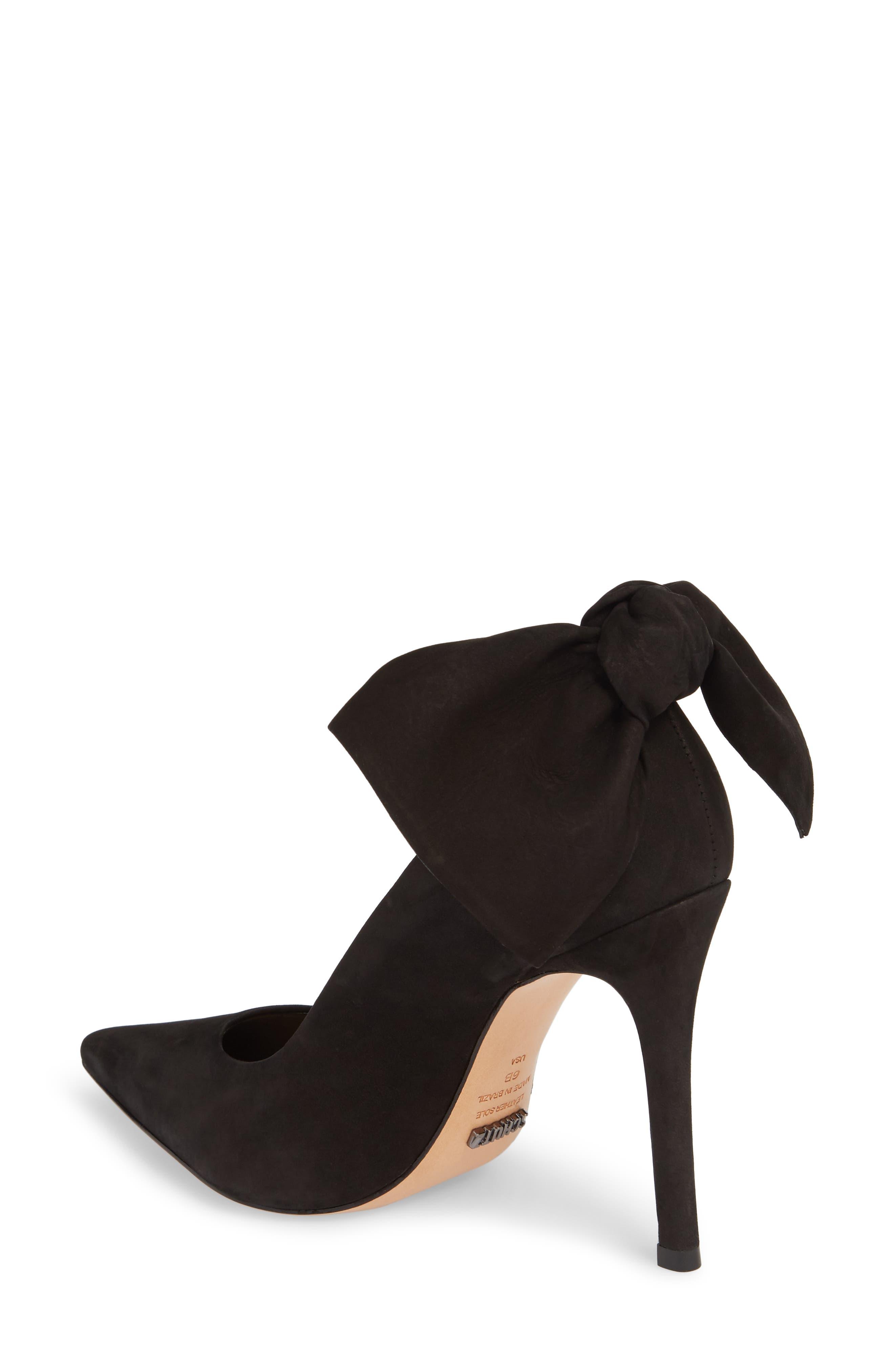 Blasiana Bow Pump,                             Alternate thumbnail 2, color,                             Black Nubuck Leather