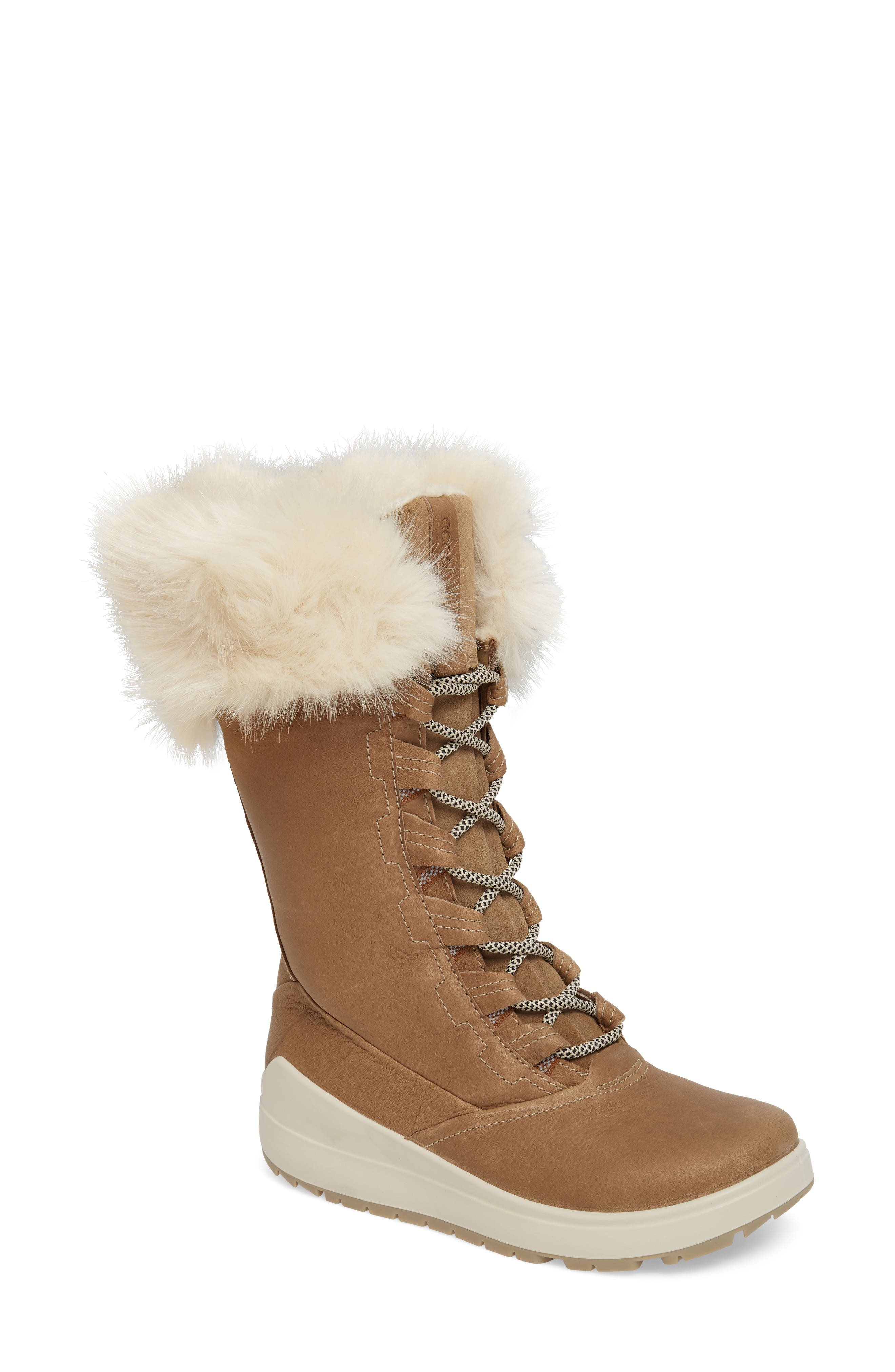 Alternate Image 1 Selected - ECCO Noyce Siberia Hydromax Water Resistant Winter Boot with Faux Fur Trim (Women)