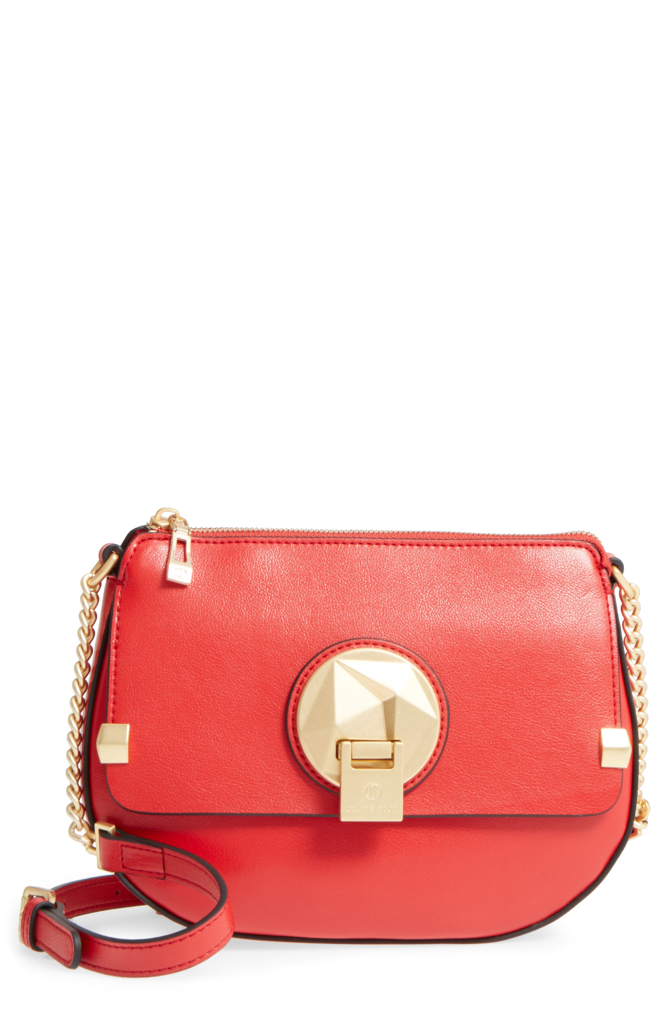 Céline Dion Octave Leather Crossbody Bag,                         Main,                         color, Red