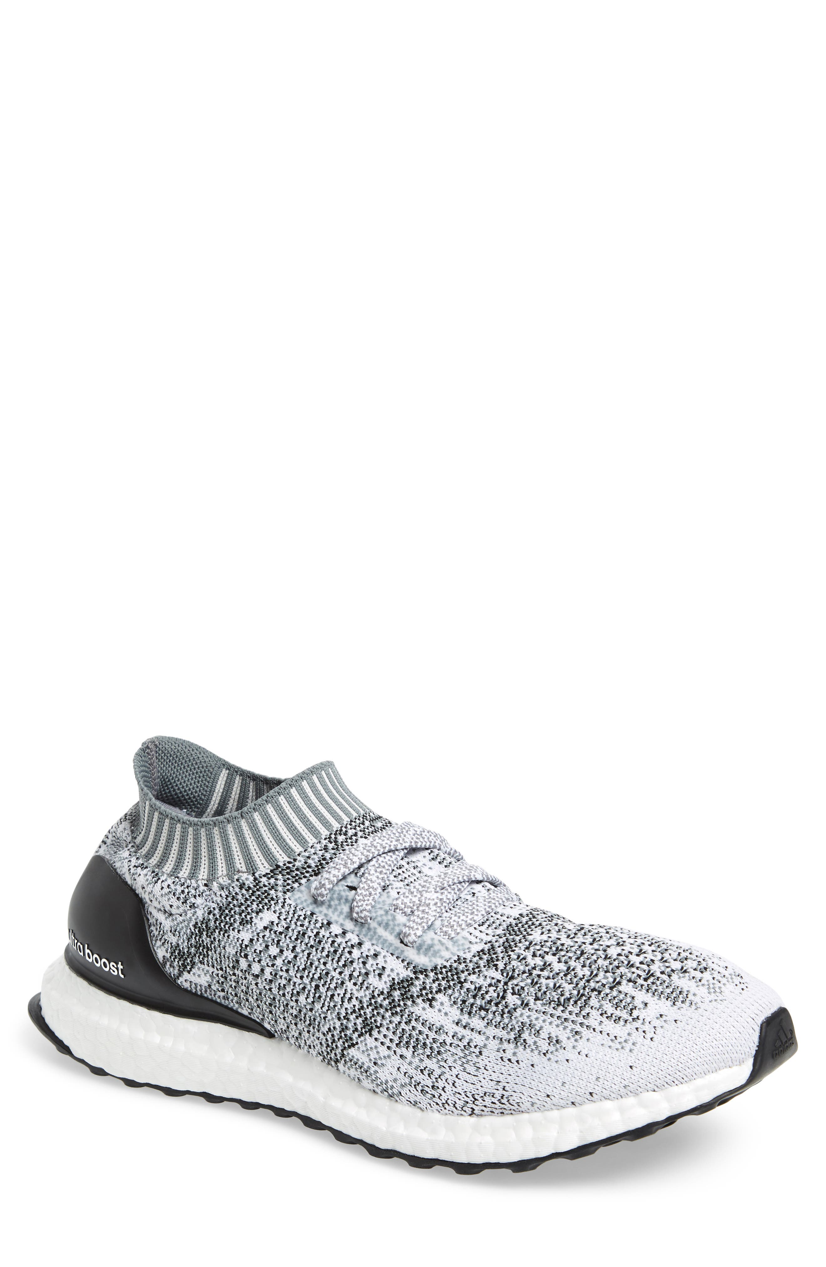 'UltraBoost Uncaged' Running Shoe,                         Main,                         color, White/ White/ Grey