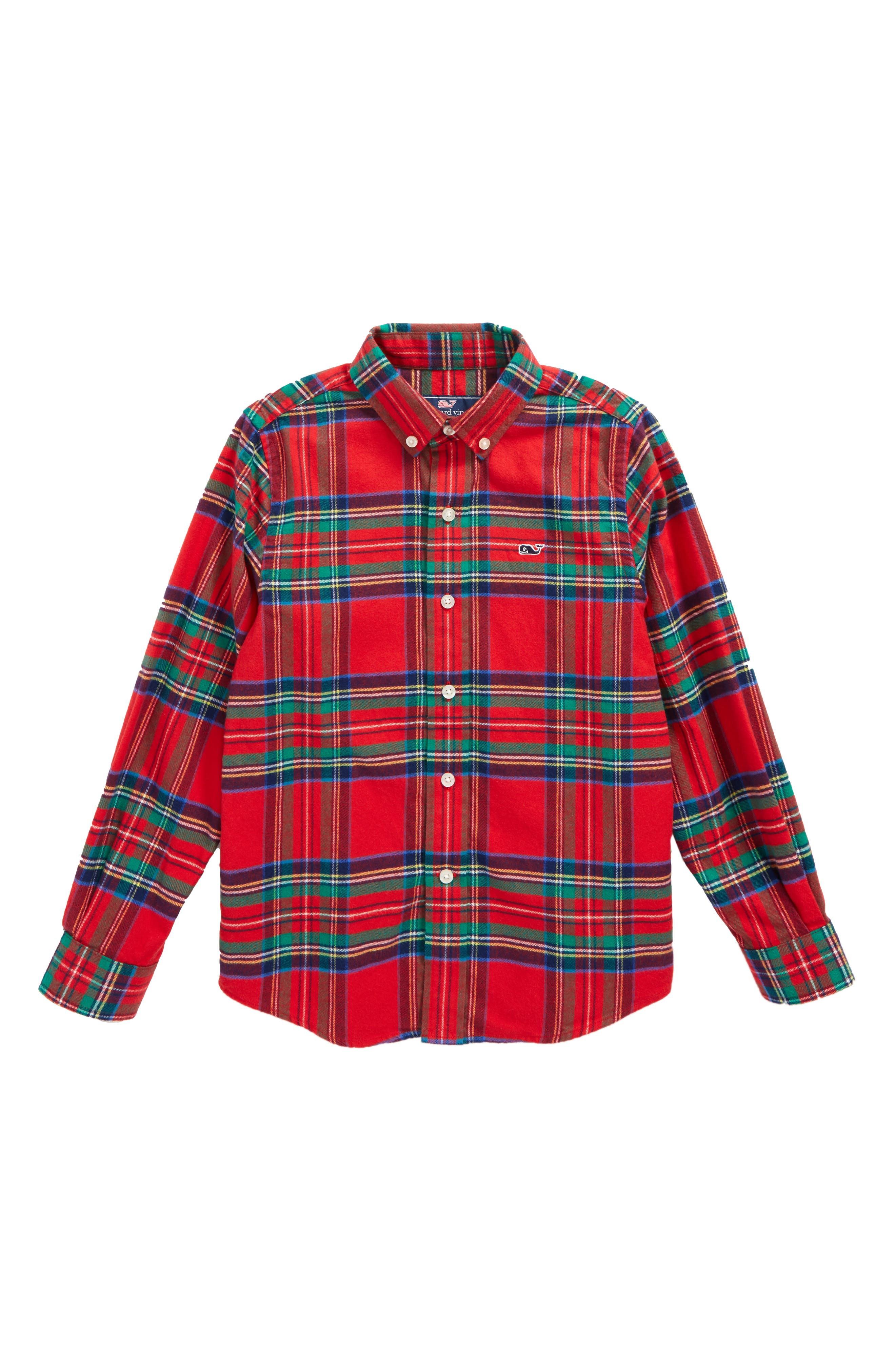 Jolly Plaid Whale Flannel Shirt,                             Main thumbnail 1, color,                             Lighthouse Red