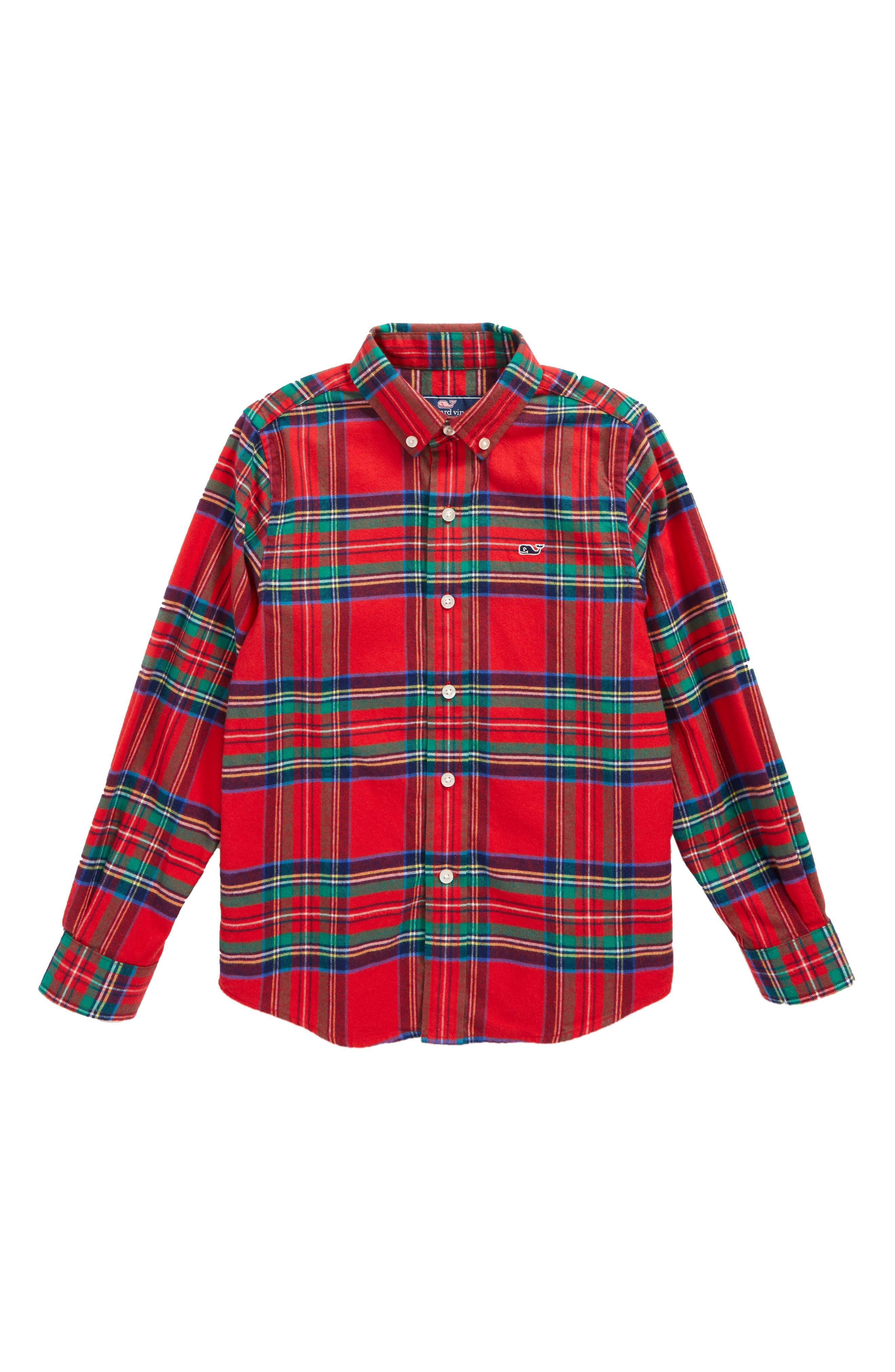 Main Image - vineyard vines Jolly Plaid Whale Flannel Shirt (Toddler Boys & Little Boys)