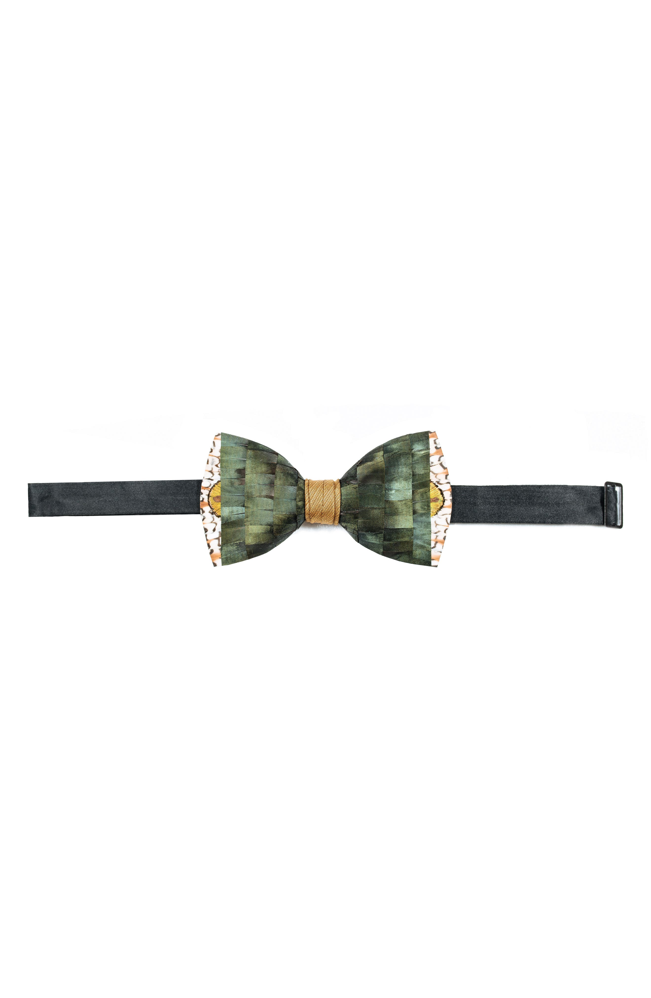 Brackish & Bell Lowry Feather Bow Tie,                             Alternate thumbnail 2, color,                             Green