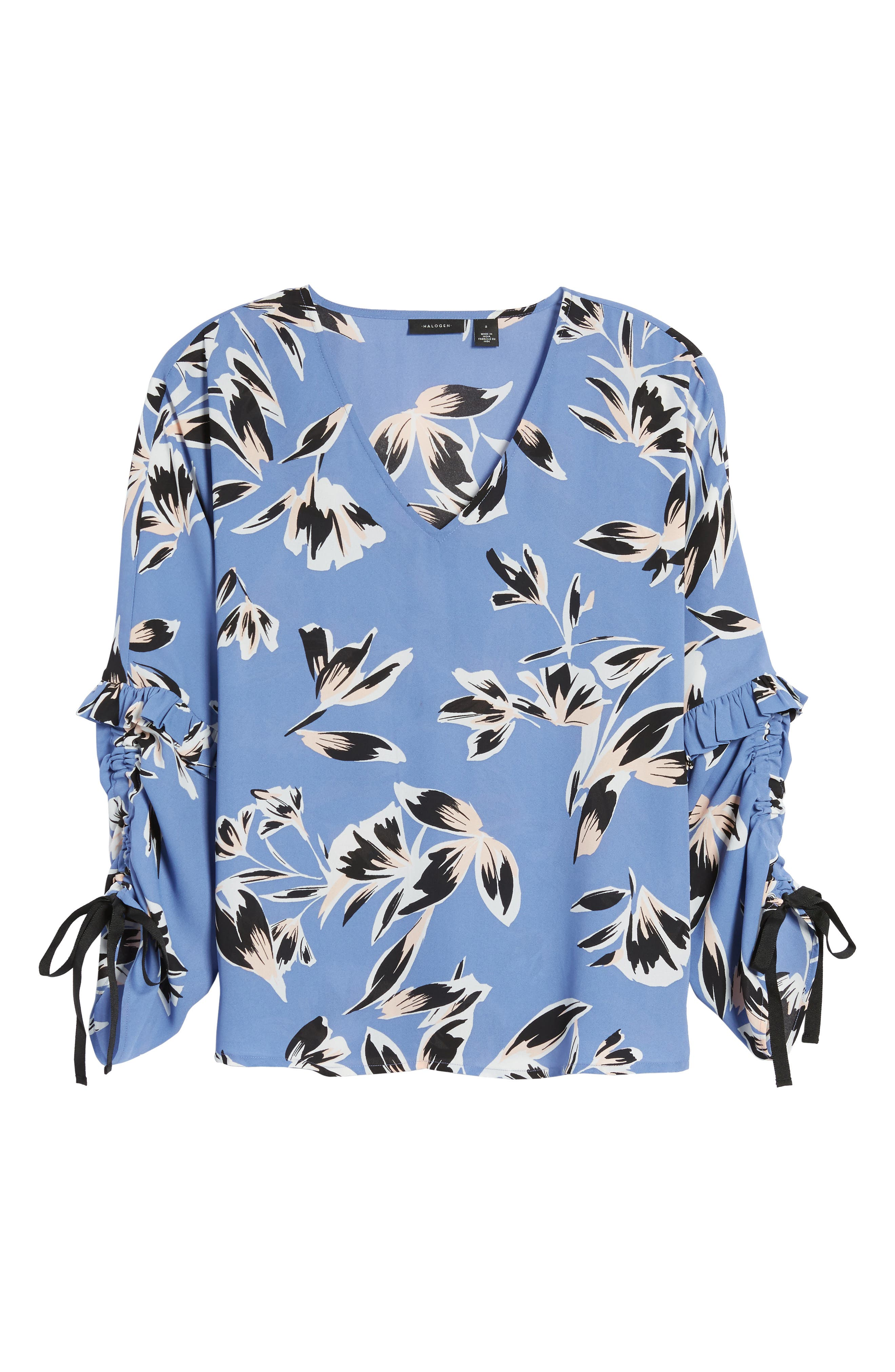 Ruched Tie Sleeve Top,                             Alternate thumbnail 6, color,                             Blue- Pink Sketch Floral