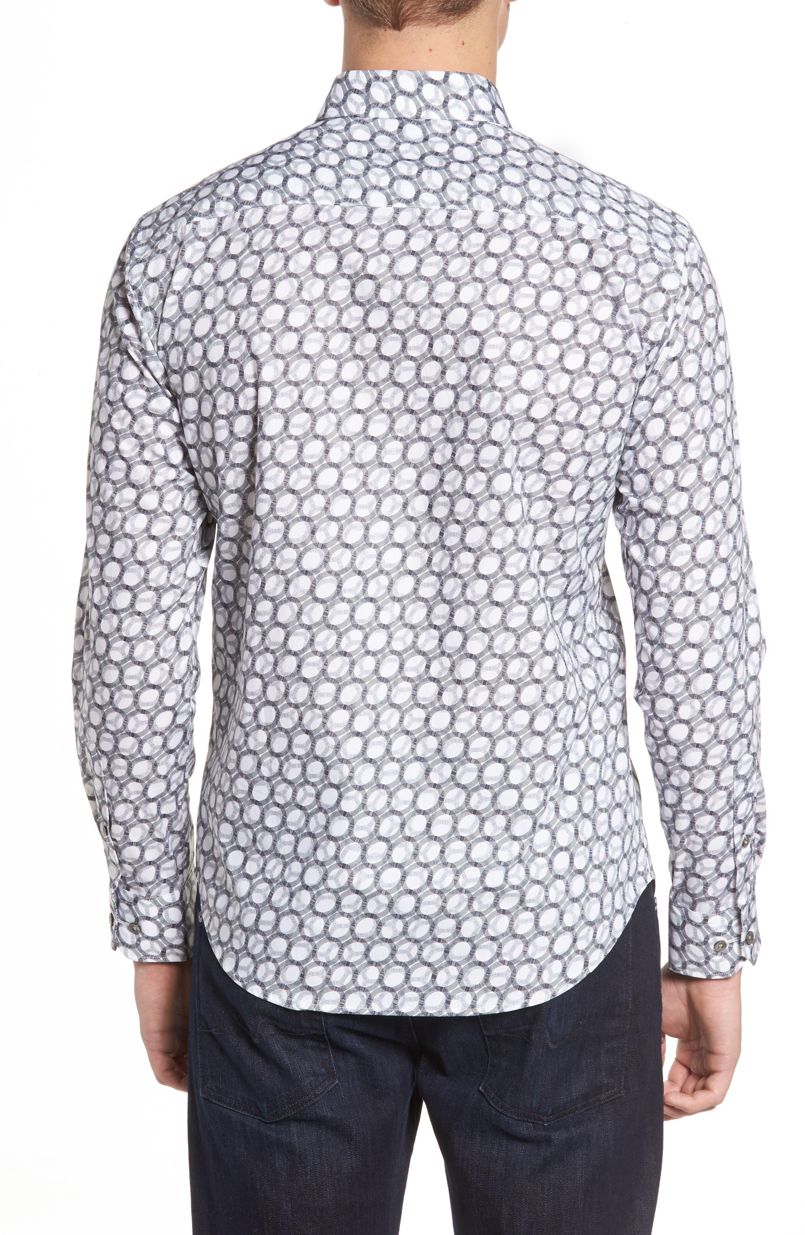 Shaped Fit Optic Print Sport Shirt,                             Alternate thumbnail 2, color,                             White
