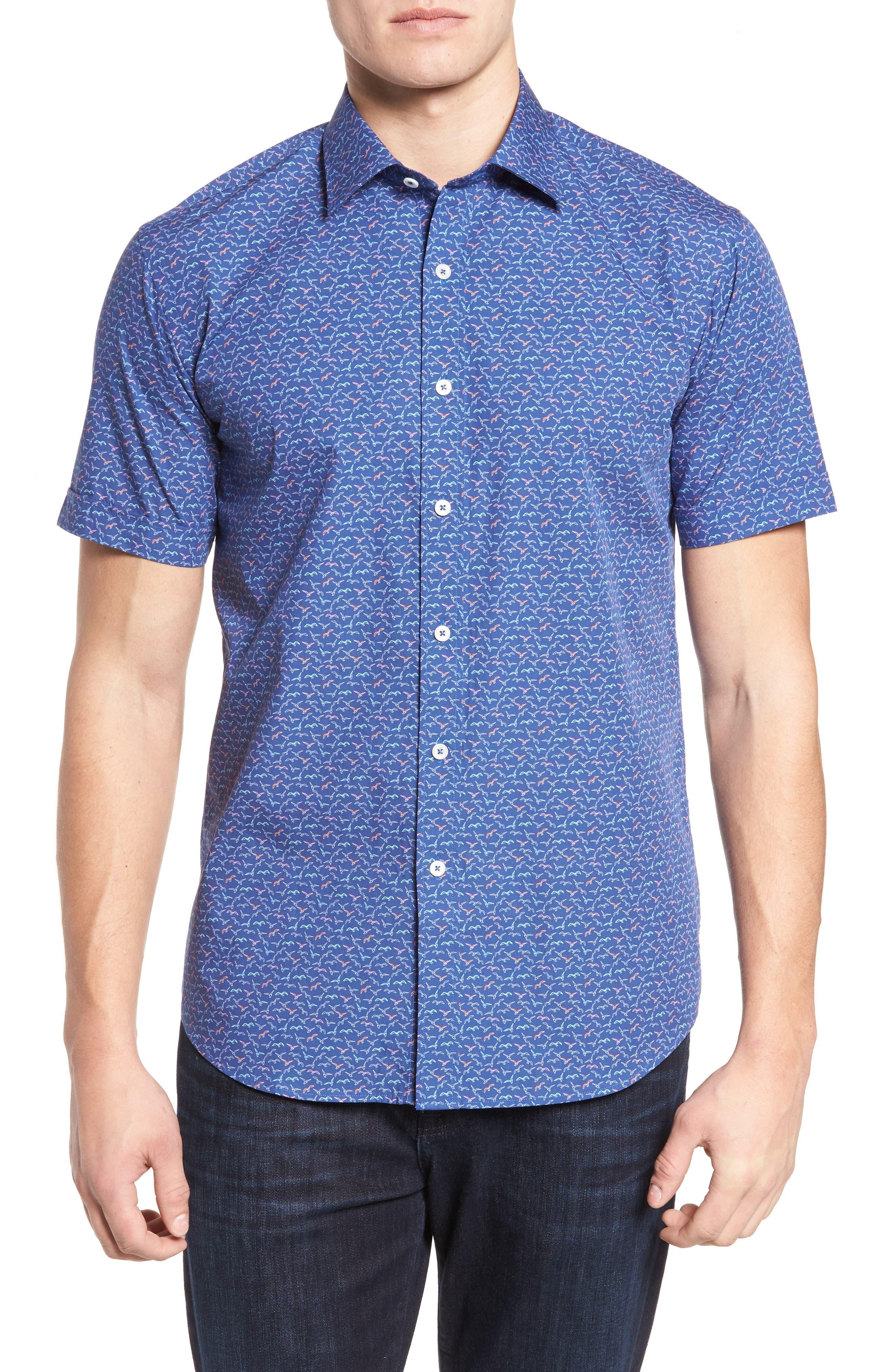 Bugatchi Shaped Fit Bird Print Sport Shirt