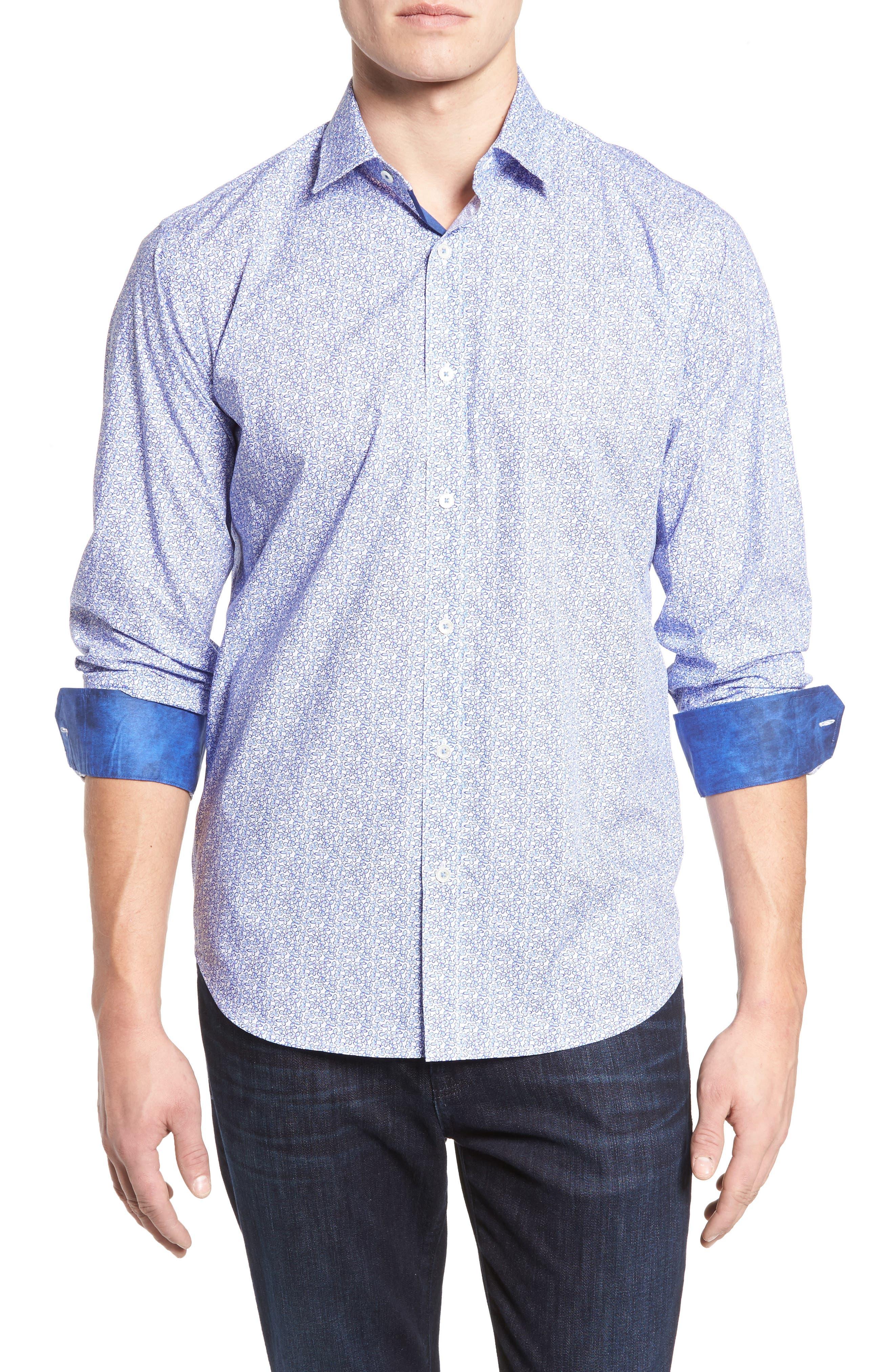 Classic Fit Print Sport Shirt,                         Main,                         color, Periwinkle