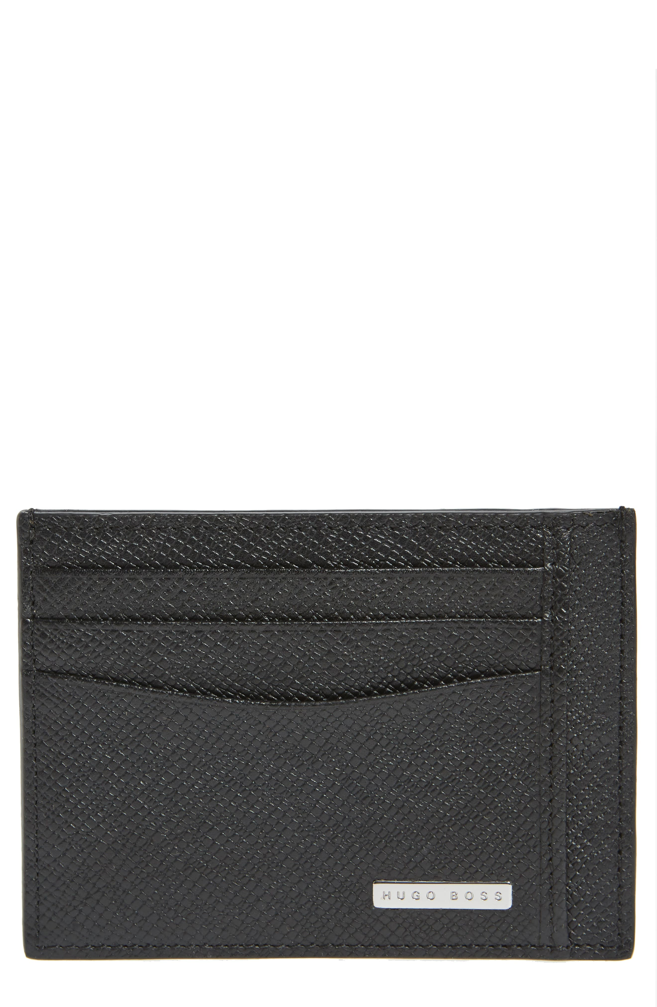 BOSS Signature Leather Card Case
