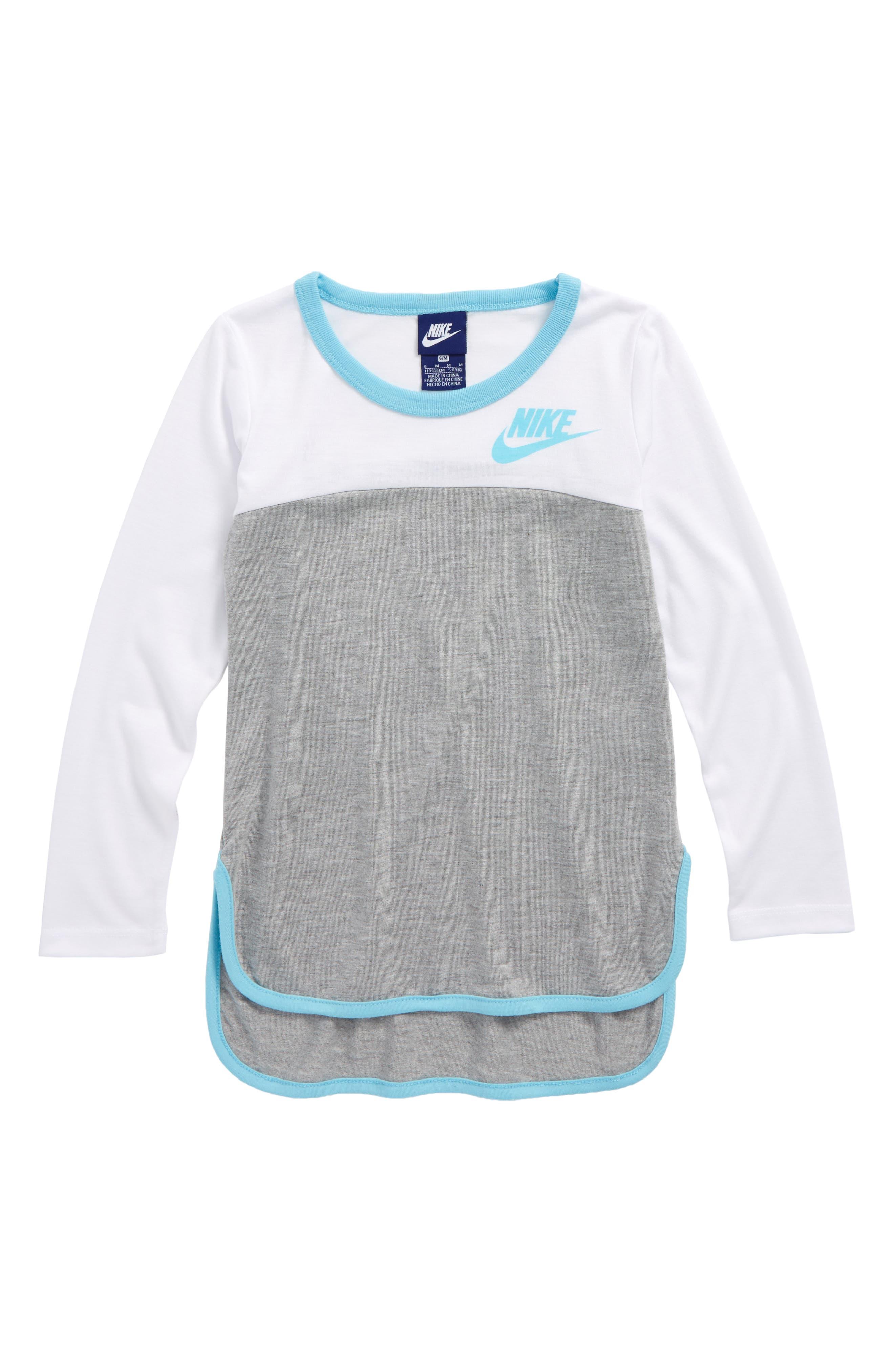 Main Image - Nike Color Block Long Sleeve Tee (Toddler Girls & Little Girls)