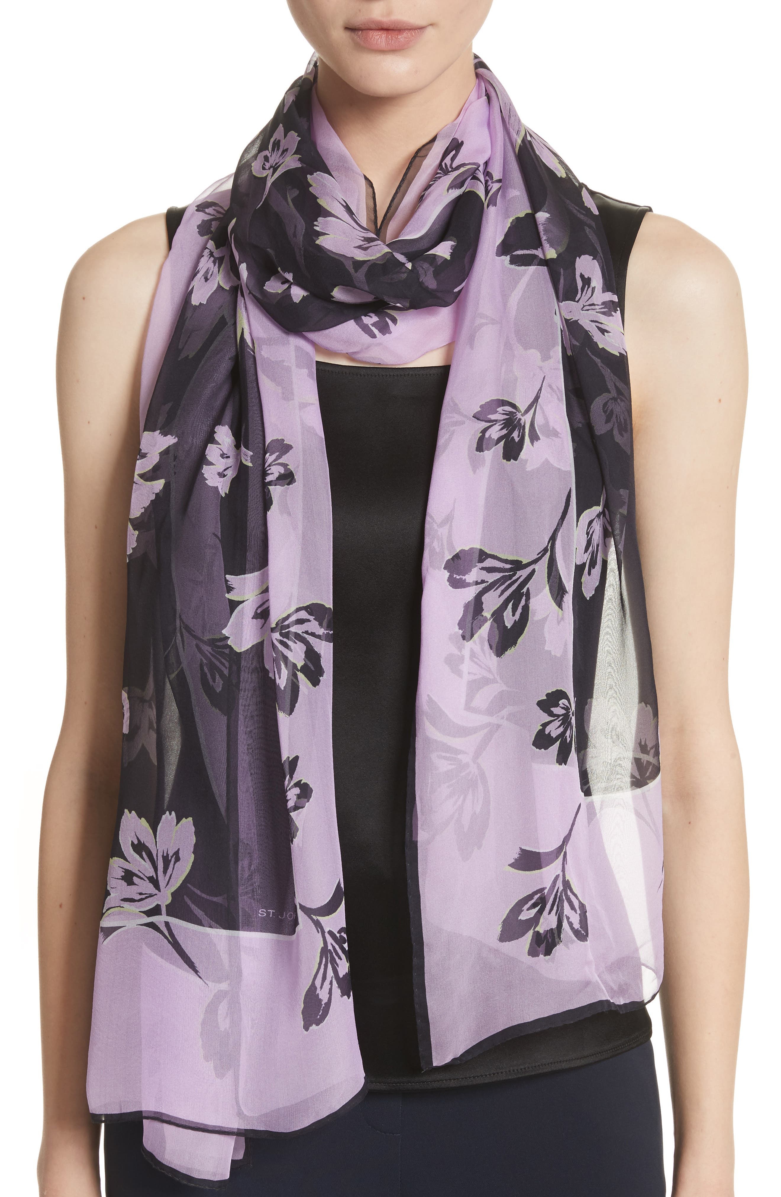 St. John Collection Falling Flower Print Silk Scarf