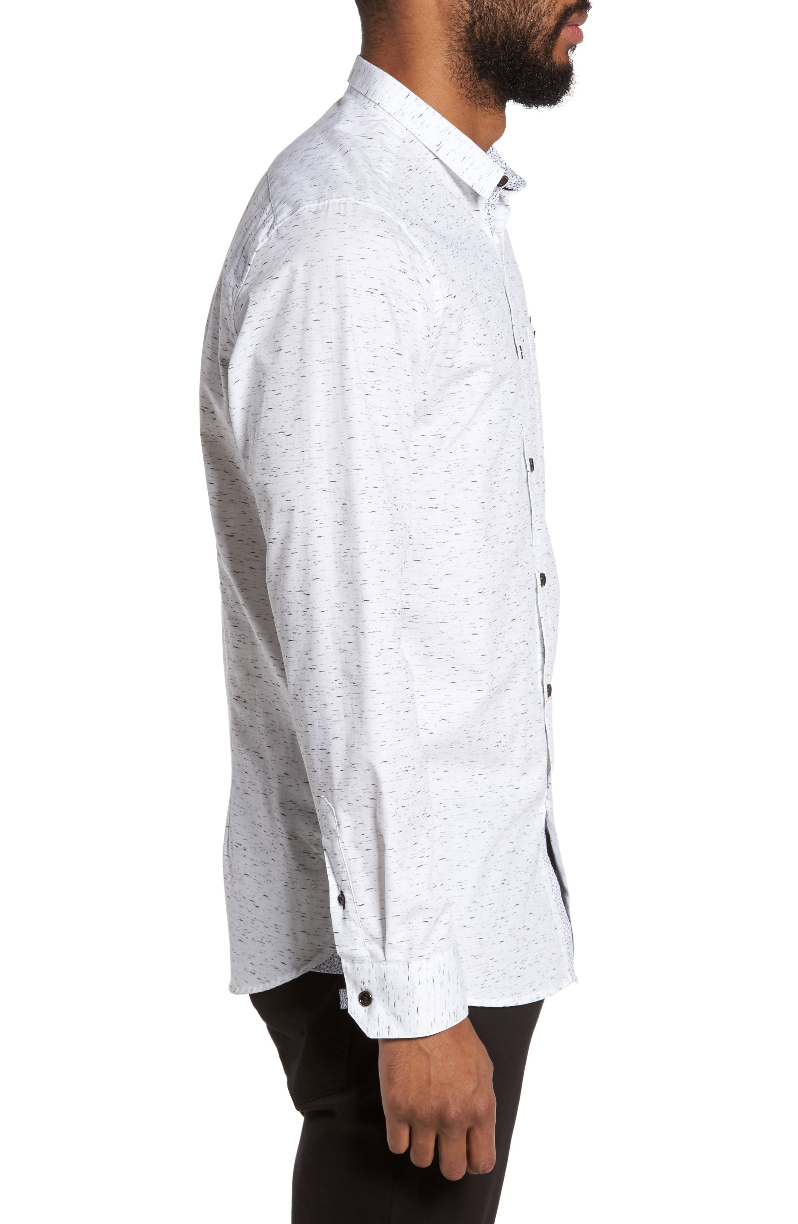 Nep Print Sport Shirt,                             Alternate thumbnail 3, color,                             White