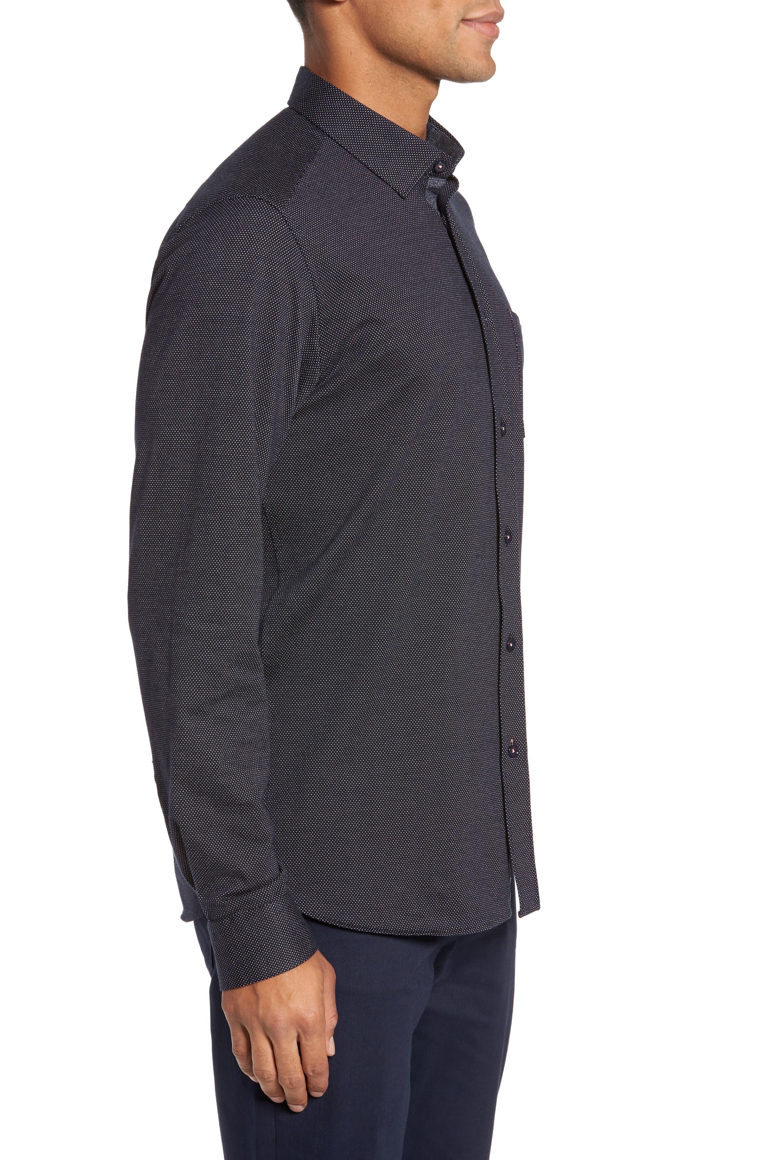 Slim Fit Microdot Sport Shirt,                             Alternate thumbnail 3, color,                             Navy