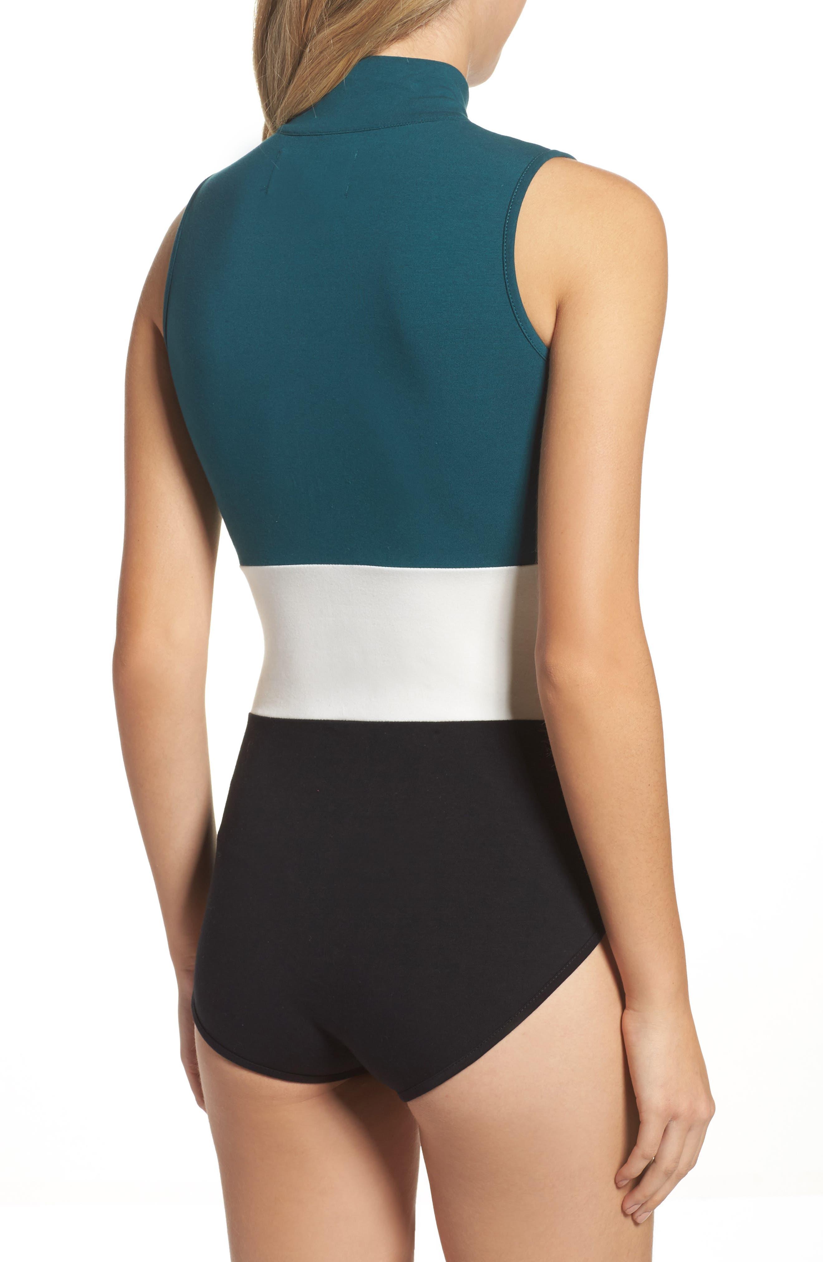 Bianca Bodysuit,                             Alternate thumbnail 2, color,                             Deep Teal/ Gardenia/ Black