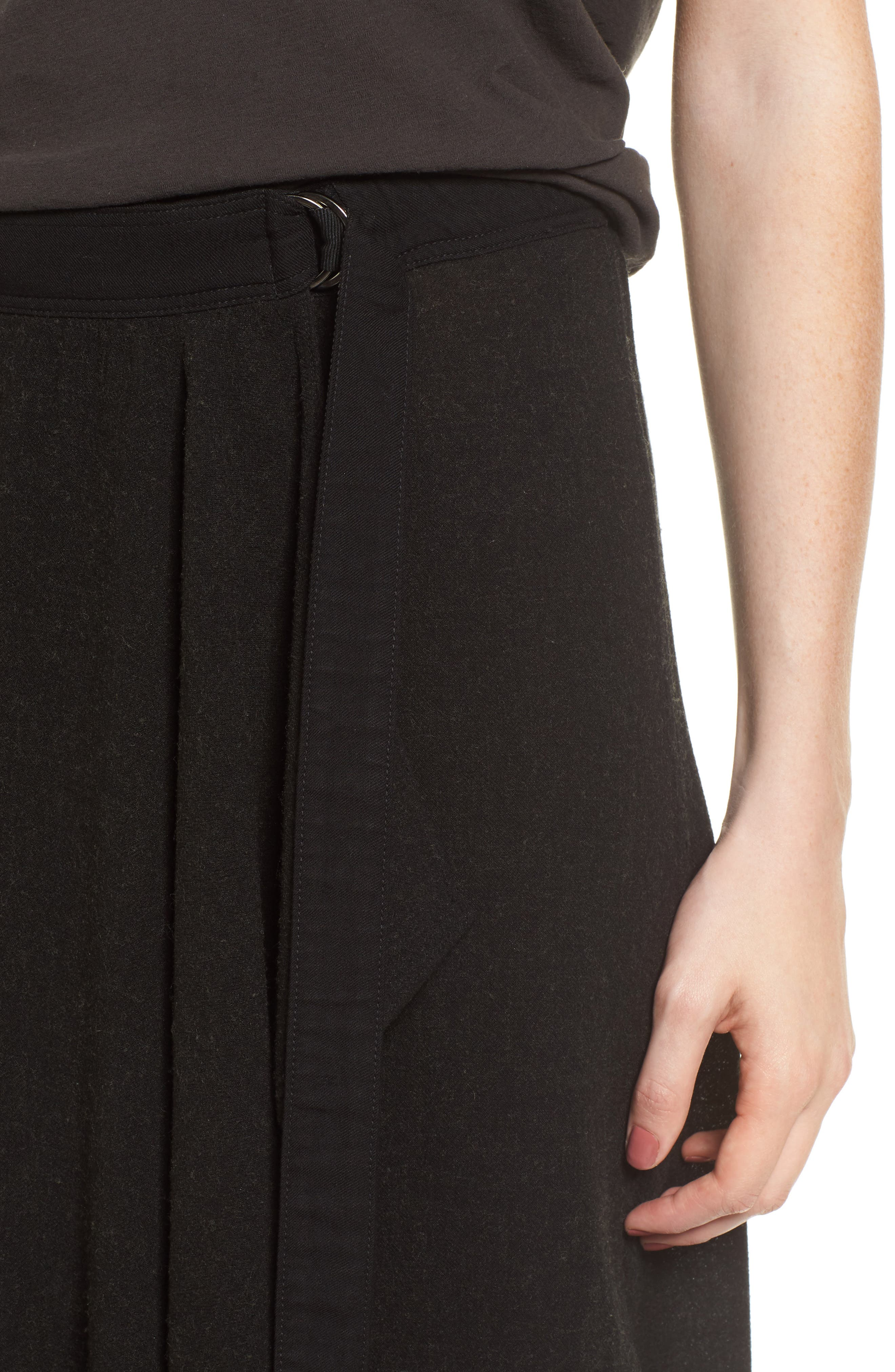 Midi Skirt,                             Alternate thumbnail 4, color,                             Black