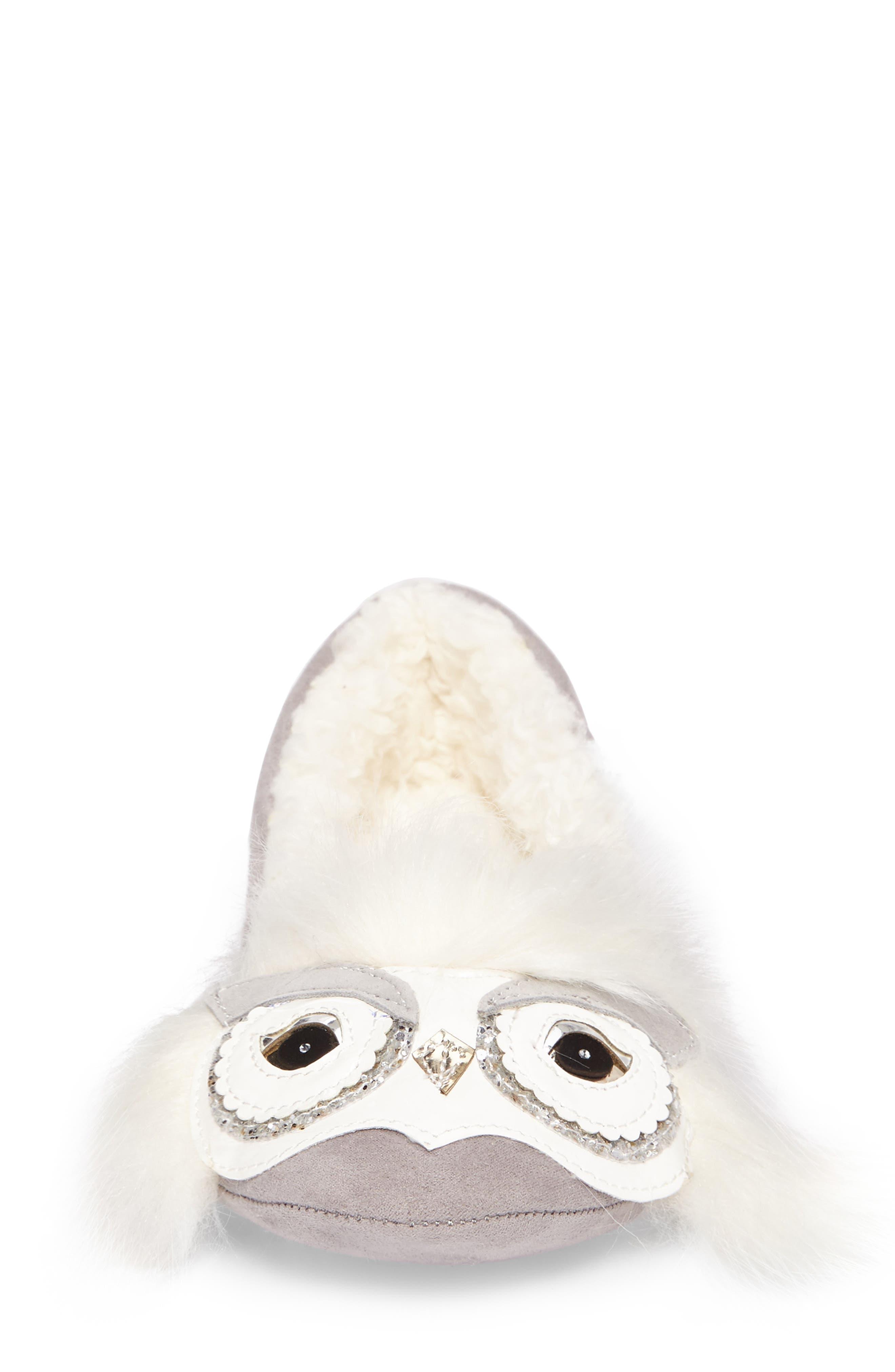 samantha owl slipper,                             Alternate thumbnail 5, color,                             Grey