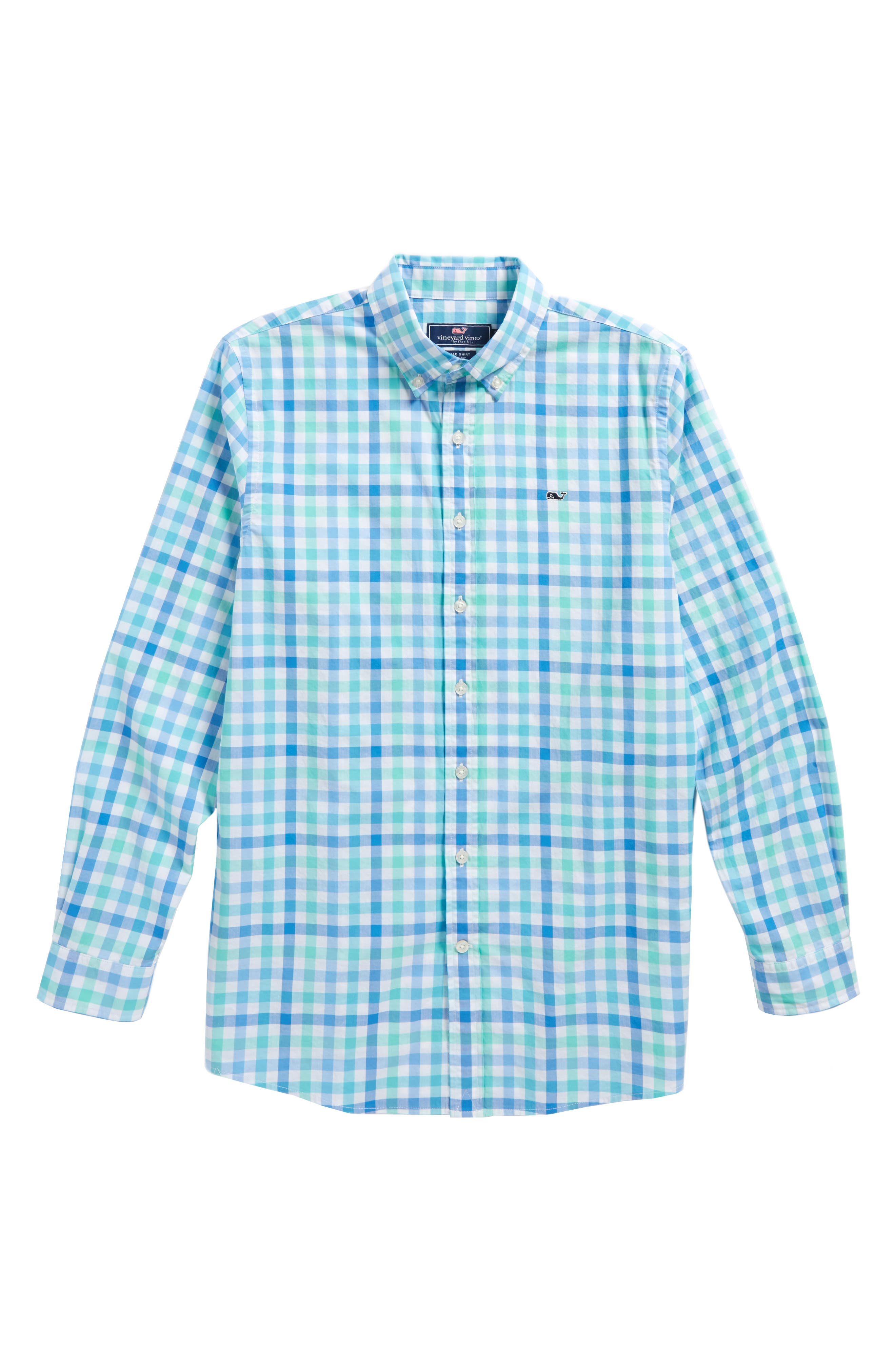 Eagle's Nest Gingham Whale Shirt,                             Main thumbnail 1, color,                             Turqs