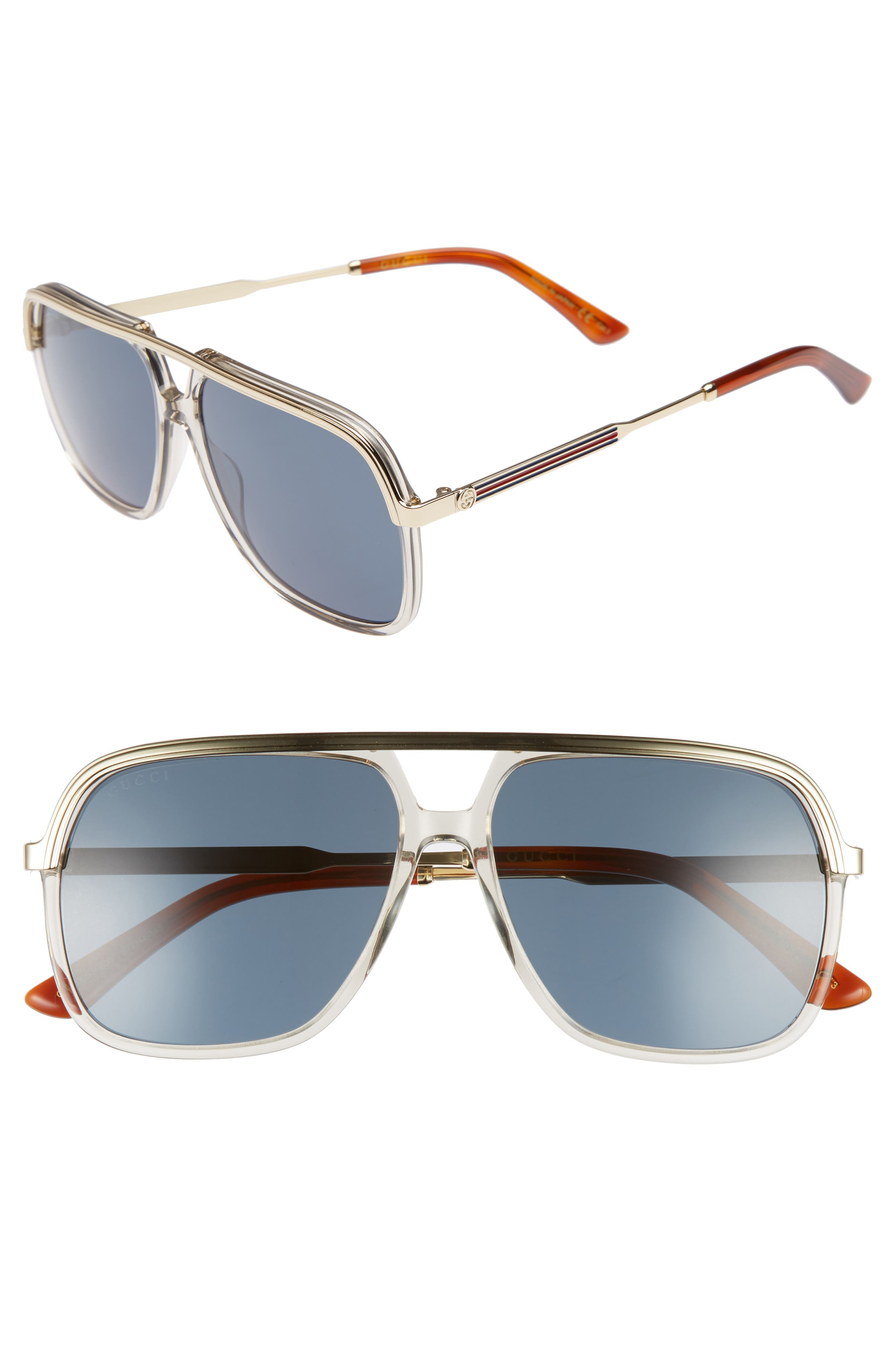 Alternate Image 1 Selected - Gucci 57mm Aviator Sunglasses