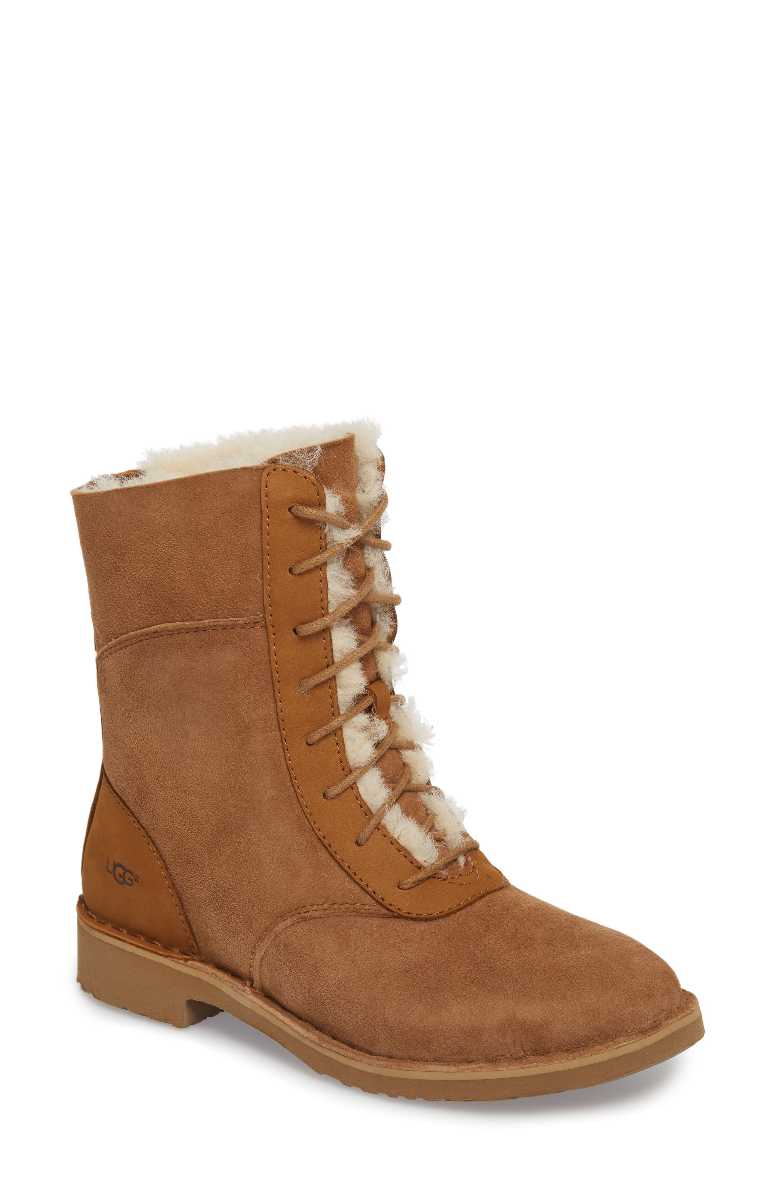 Daney Lace-Up Boot,                         Main,                         color, Chestnut Suede