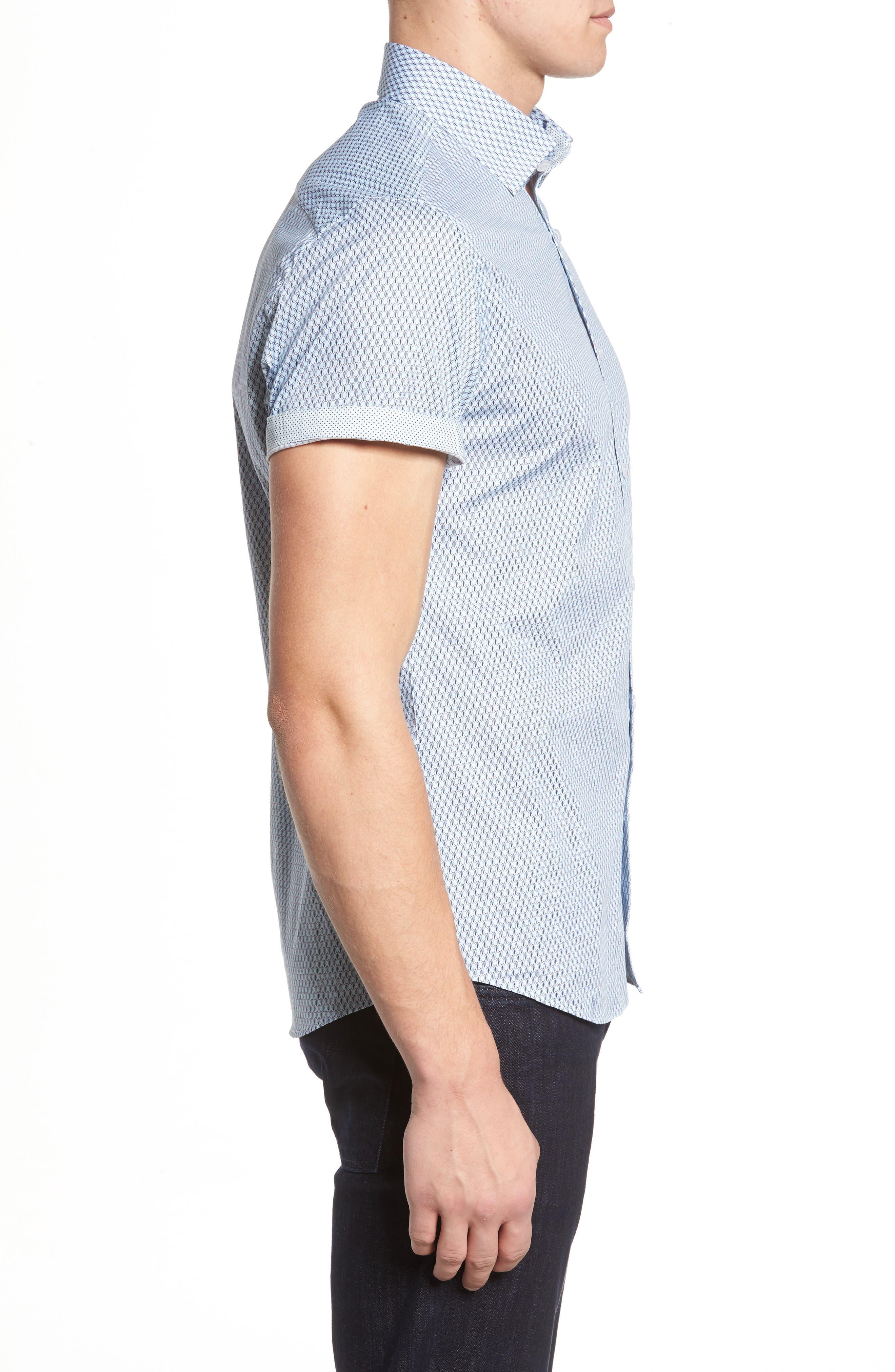 Slim Fit Tennis Racquet Print Sport Shirt,                             Alternate thumbnail 3, color,                             Blue