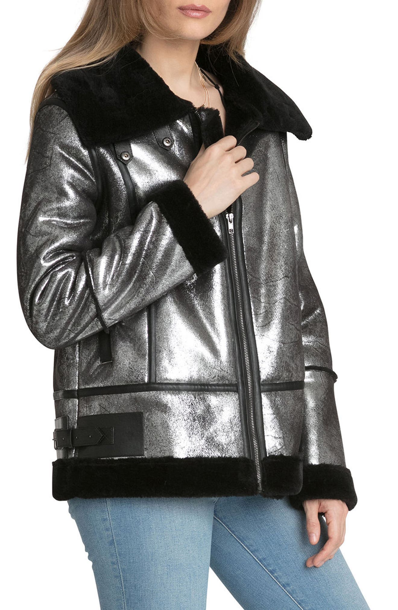 Metallic Biker Jacket with Faux Shearling Trim,                             Alternate thumbnail 3, color,                             Silver/ Black