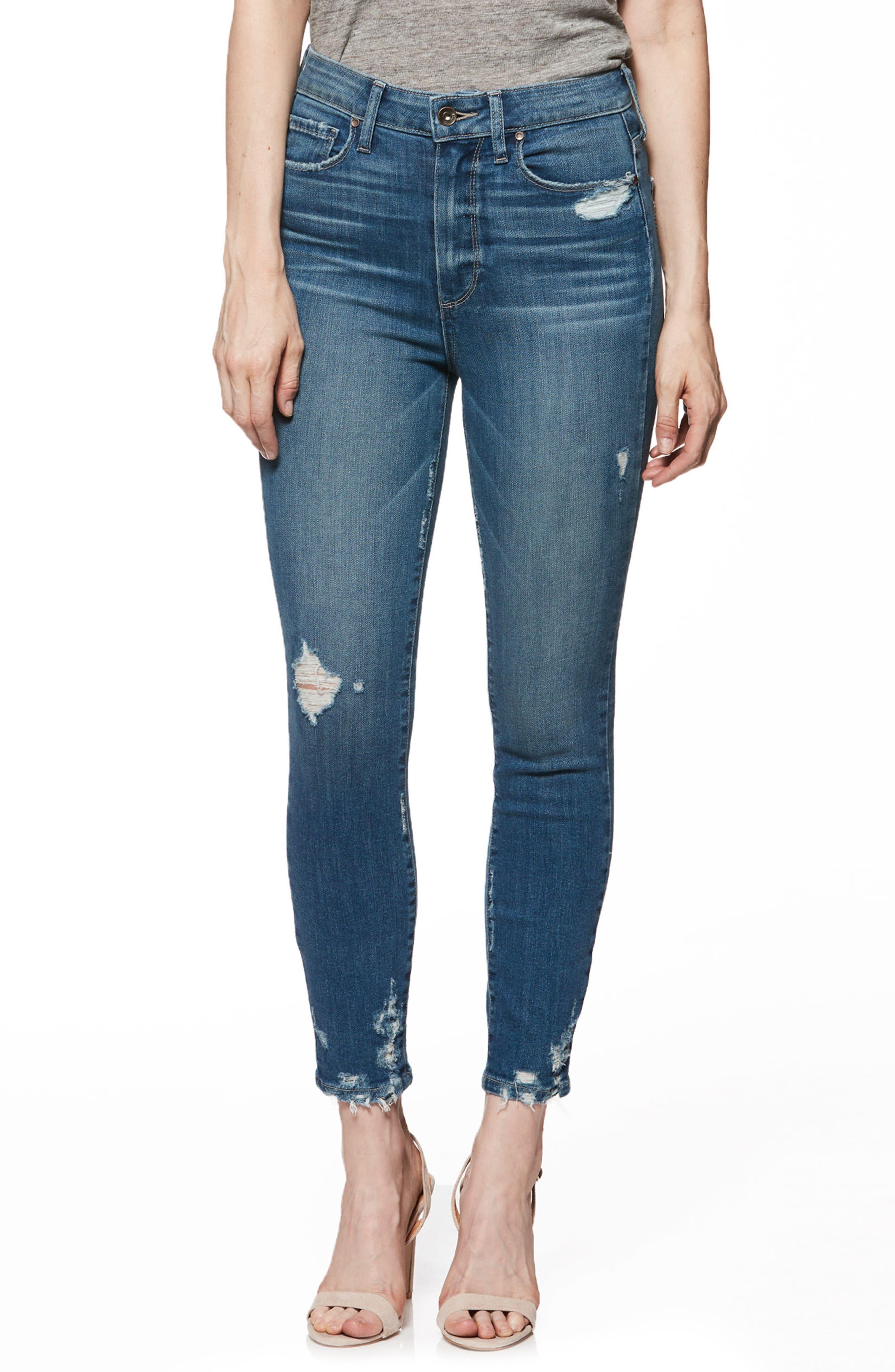 Transcend Vintage - Margot High Waist Crop Skinny Jeans,                         Main,                         color, Ashby Destructed